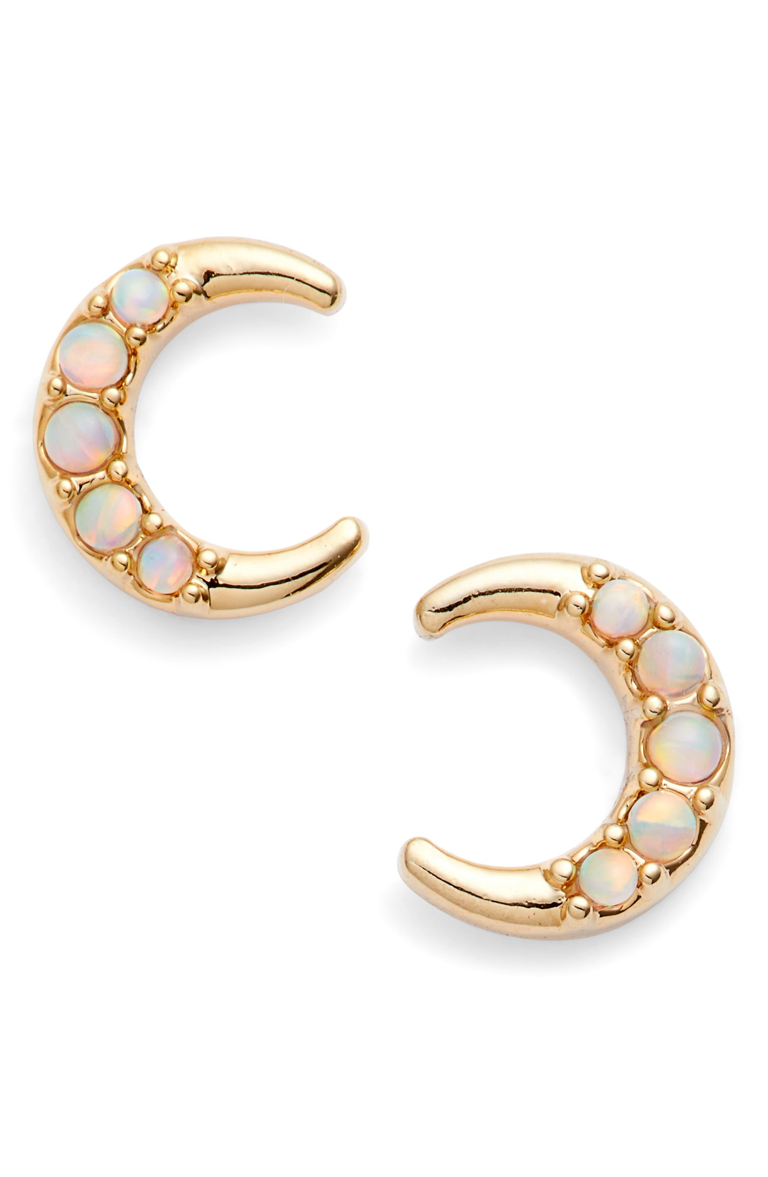 stud earrings,                             Main thumbnail 1, color,                             Opal/ Gold