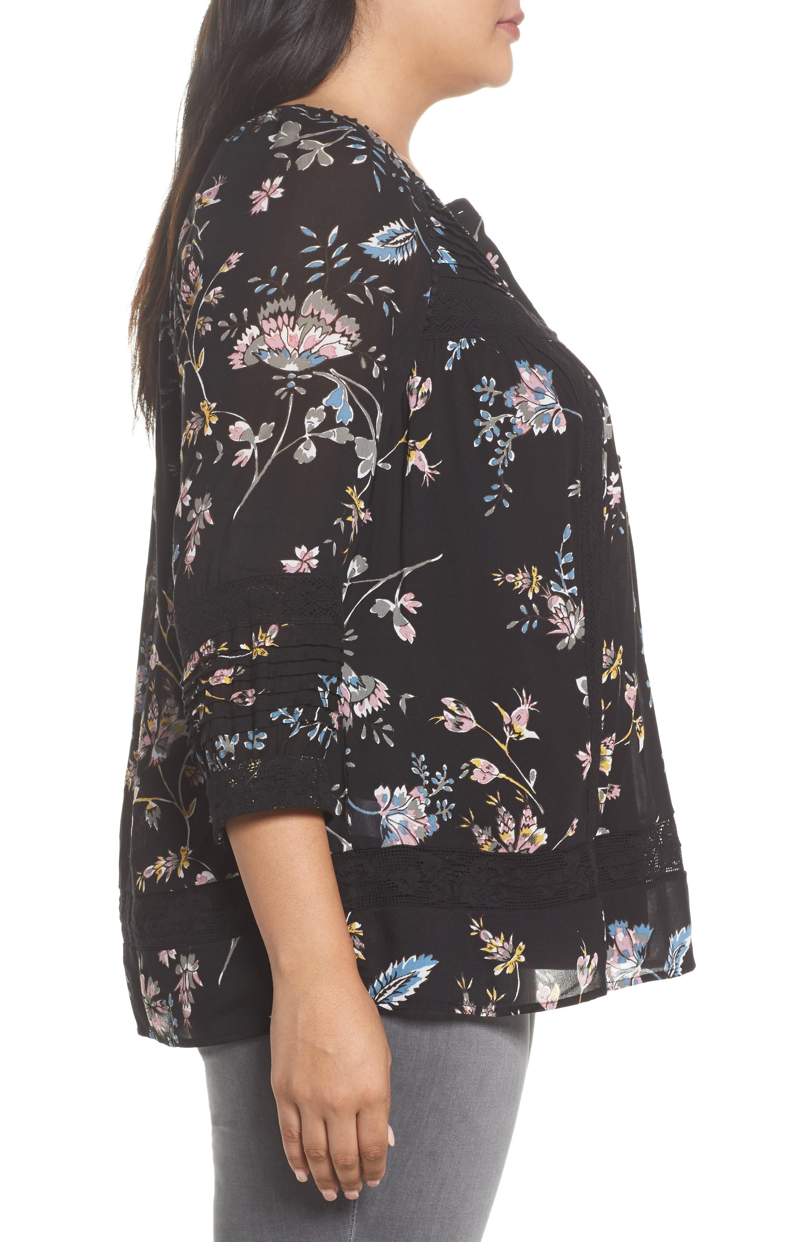 Alternate Image 3  - Daniel Rainn Lace Trim Floral Top (Plus Size)