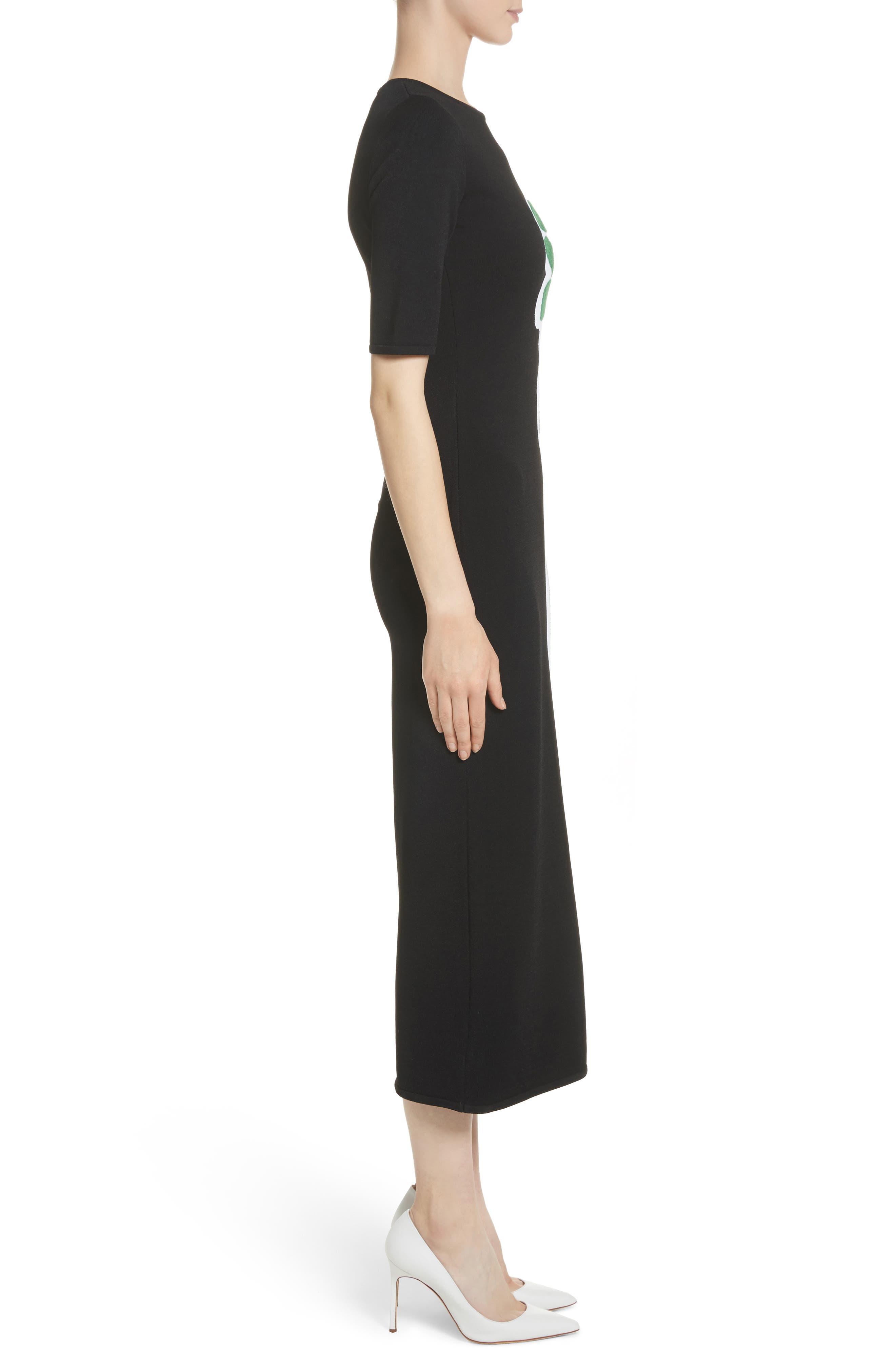 Intarsia Leaf Print Dress,                             Alternate thumbnail 3, color,                             White/ Black/ Evergreen