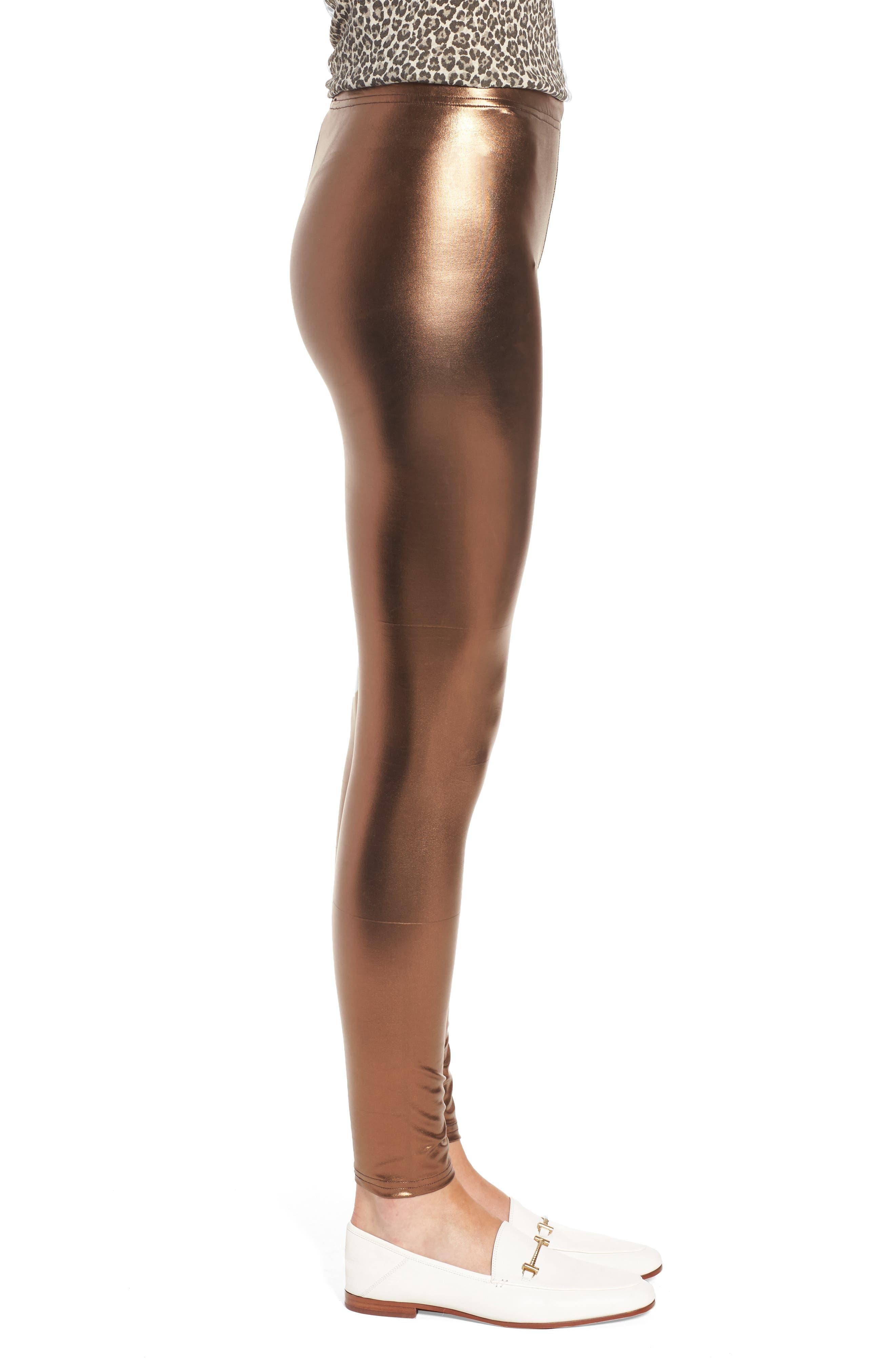 Metallic Leggings,                             Alternate thumbnail 3, color,                             Bronze