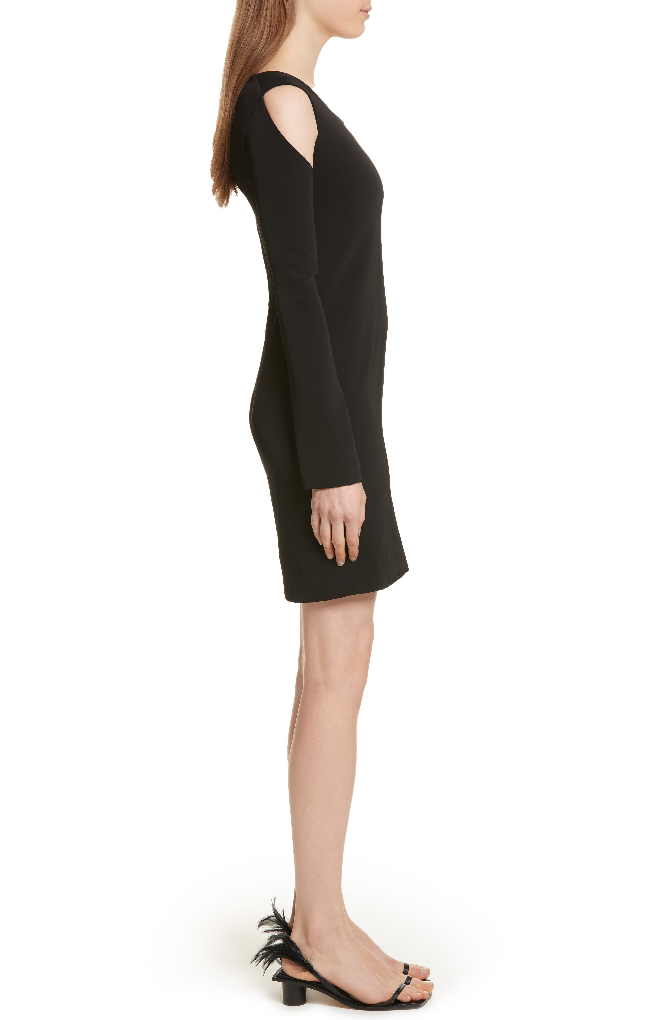 Cold Shoulder Sheath Dress,                             Alternate thumbnail 3, color,                             Black
