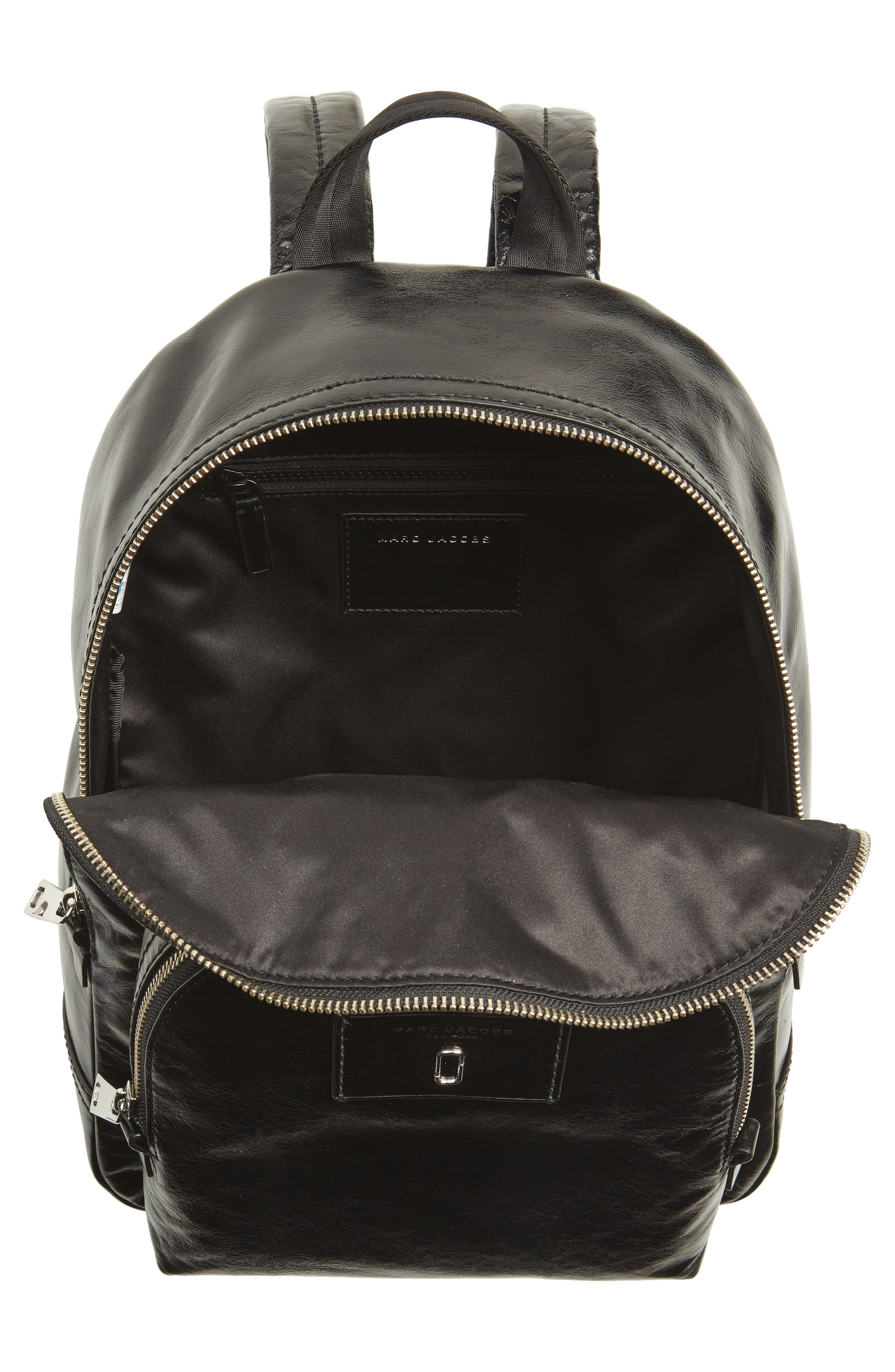 Double Pack Leather Backpack,                             Alternate thumbnail 4, color,                             Black