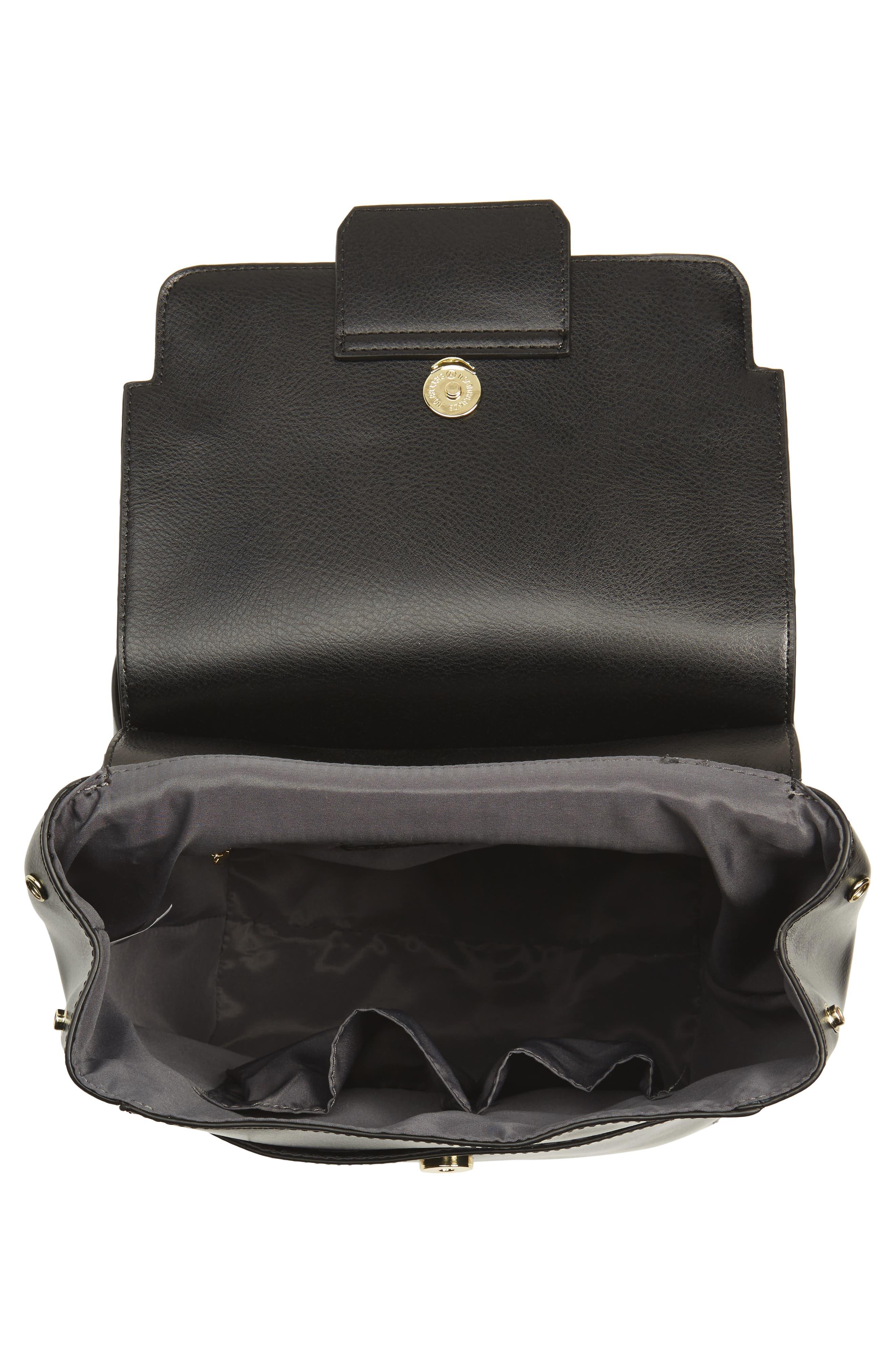 Dylan Leather Backpack,                             Alternate thumbnail 4, color,                             Black