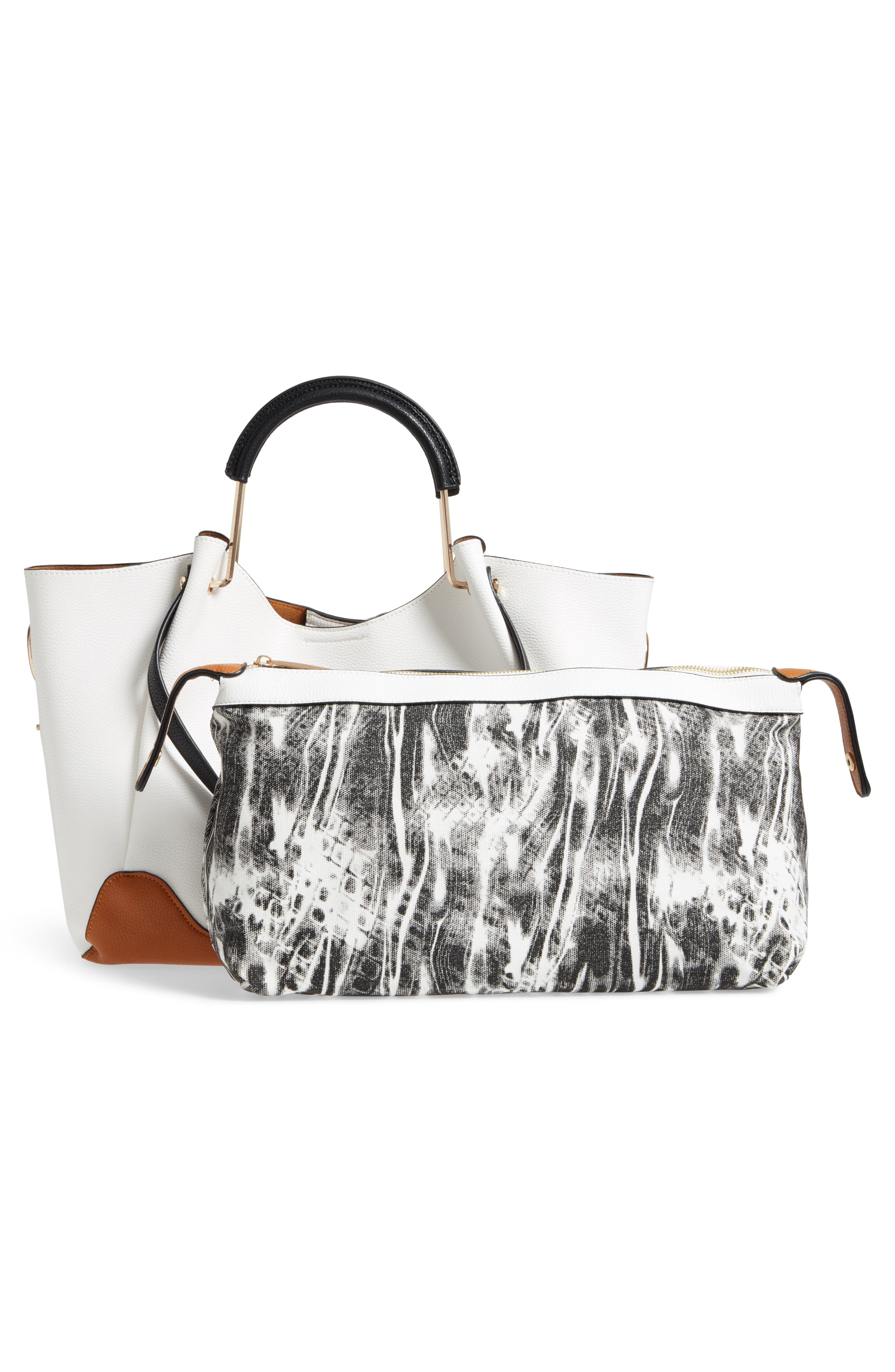 Faux Leather Tote & Canvas Pouch,                             Alternate thumbnail 3, color,                             White