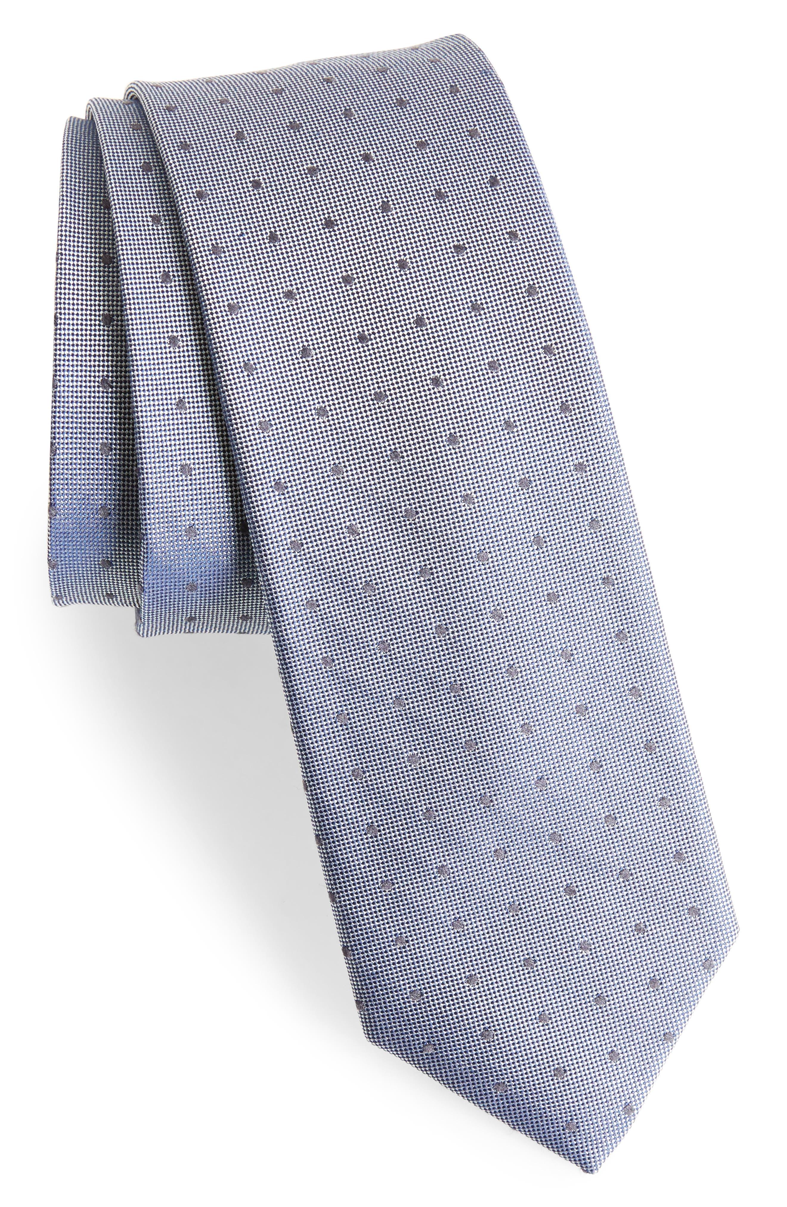 Dot Silk Blend Skinny Tie,                             Main thumbnail 1, color,                             Black