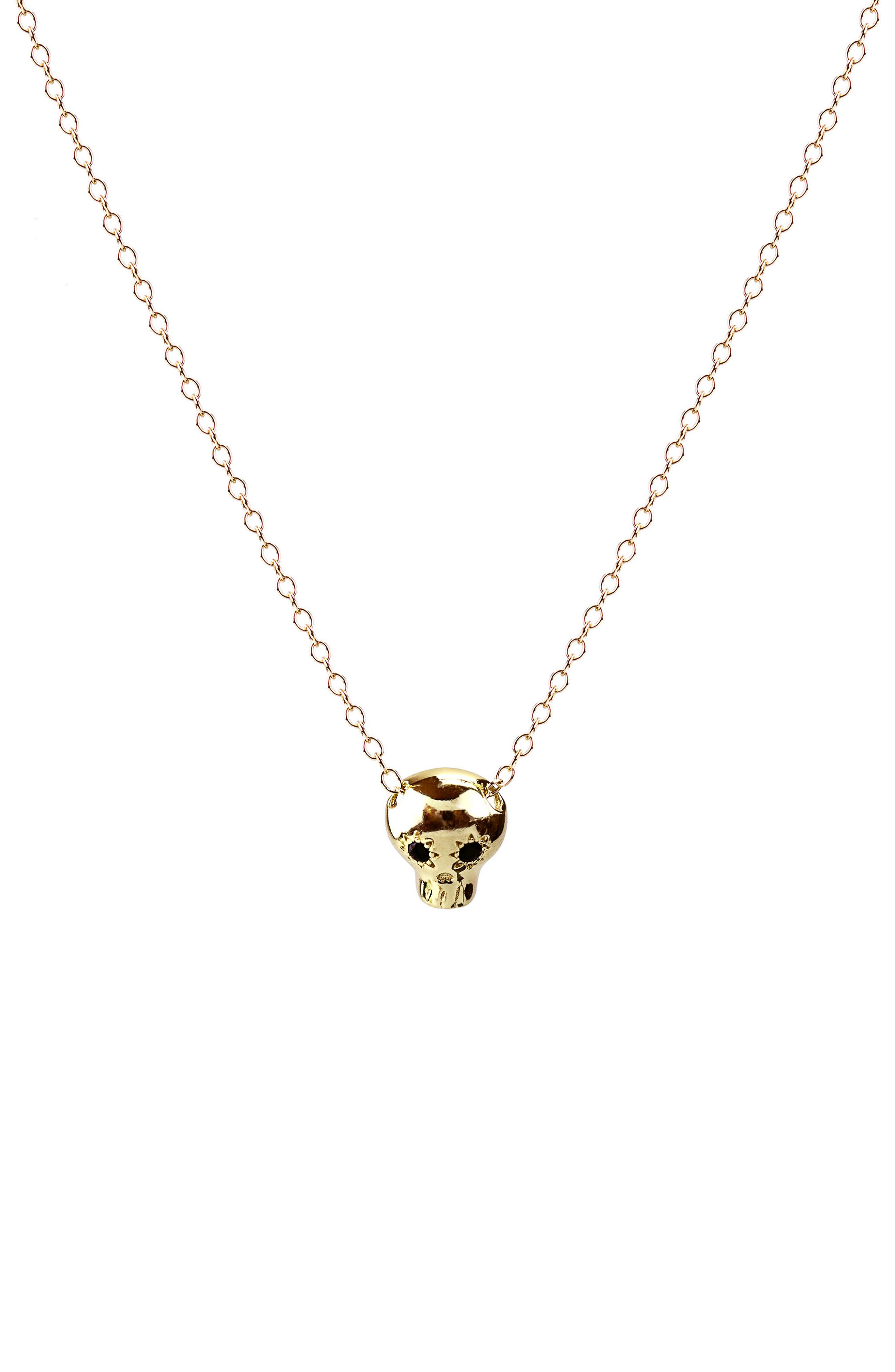Onyx Skull Charm Necklace,                         Main,                         color, Gold Black