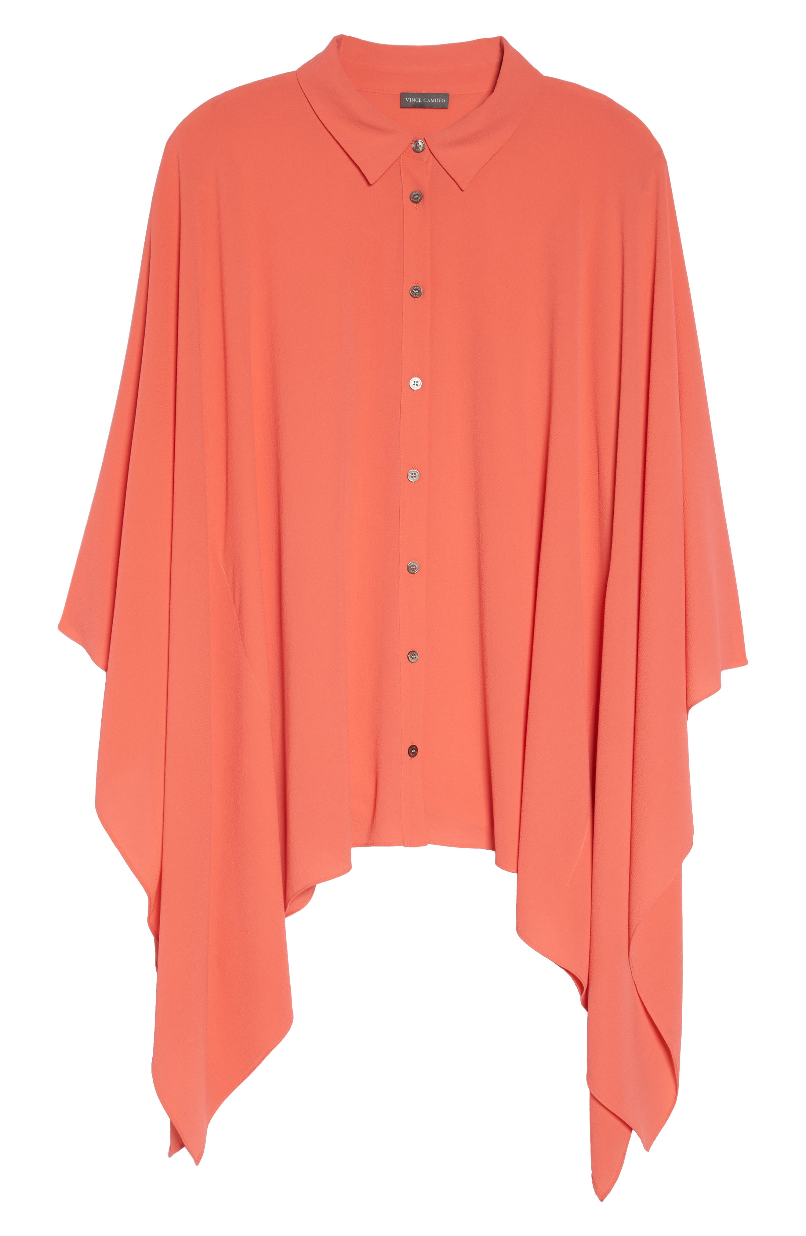 Button Down Collared Poncho Top,                             Alternate thumbnail 6, color,                             Melon