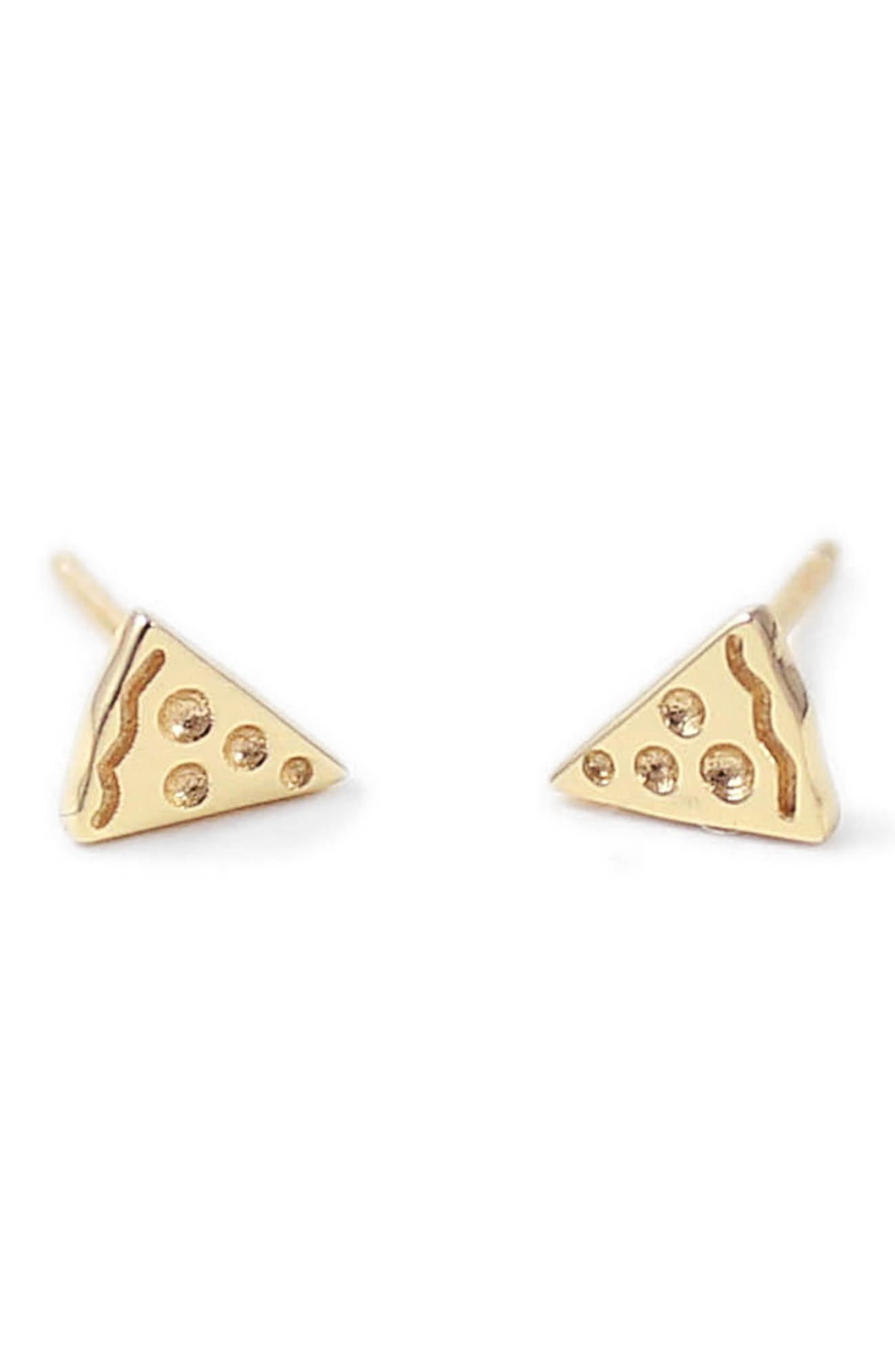 Pizza Stud Earrings,                         Main,                         color, Gold