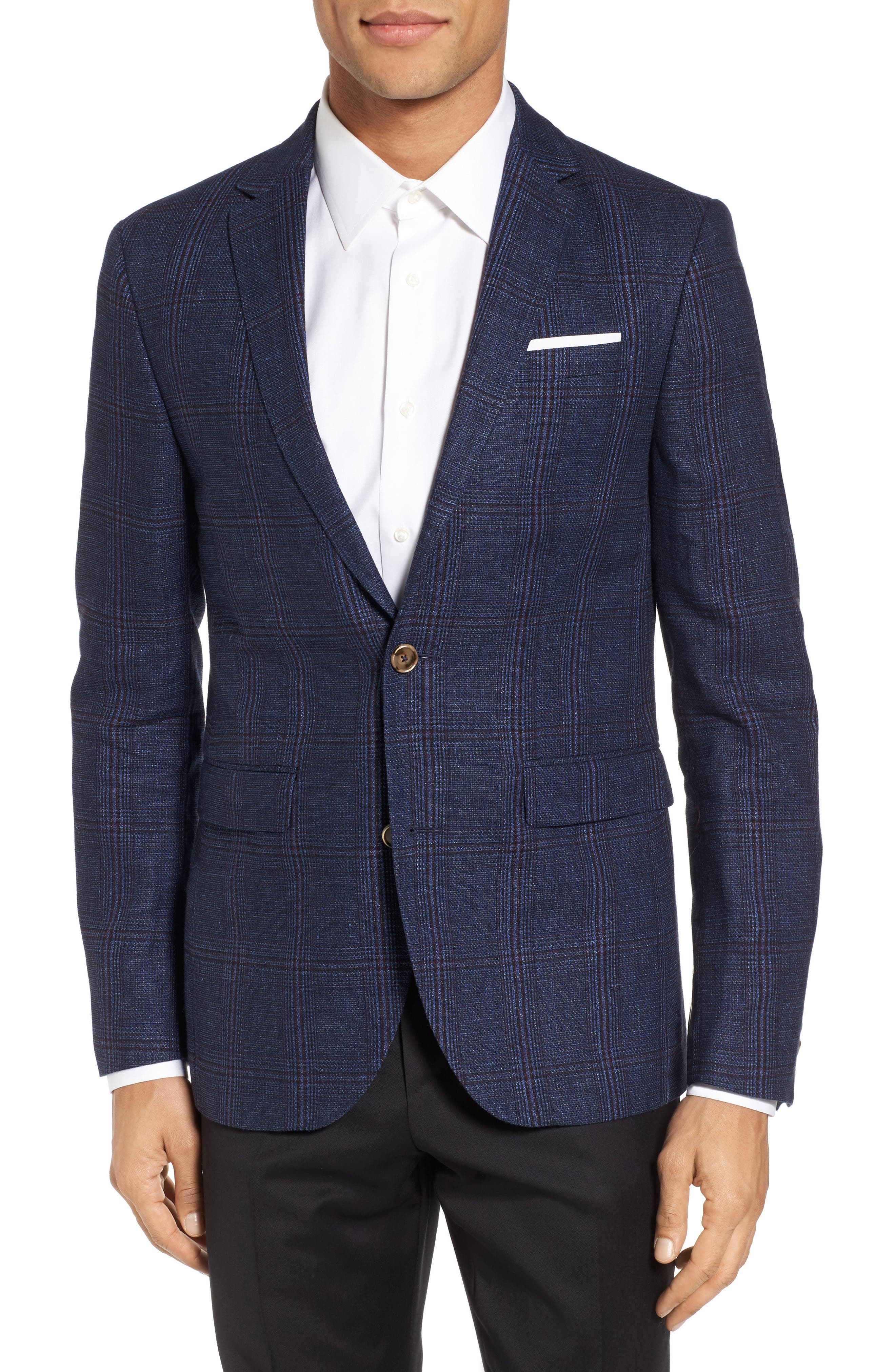 Trim Fit Plaid Linen & Wool Sport Coat,                         Main,                         color, Navy Red