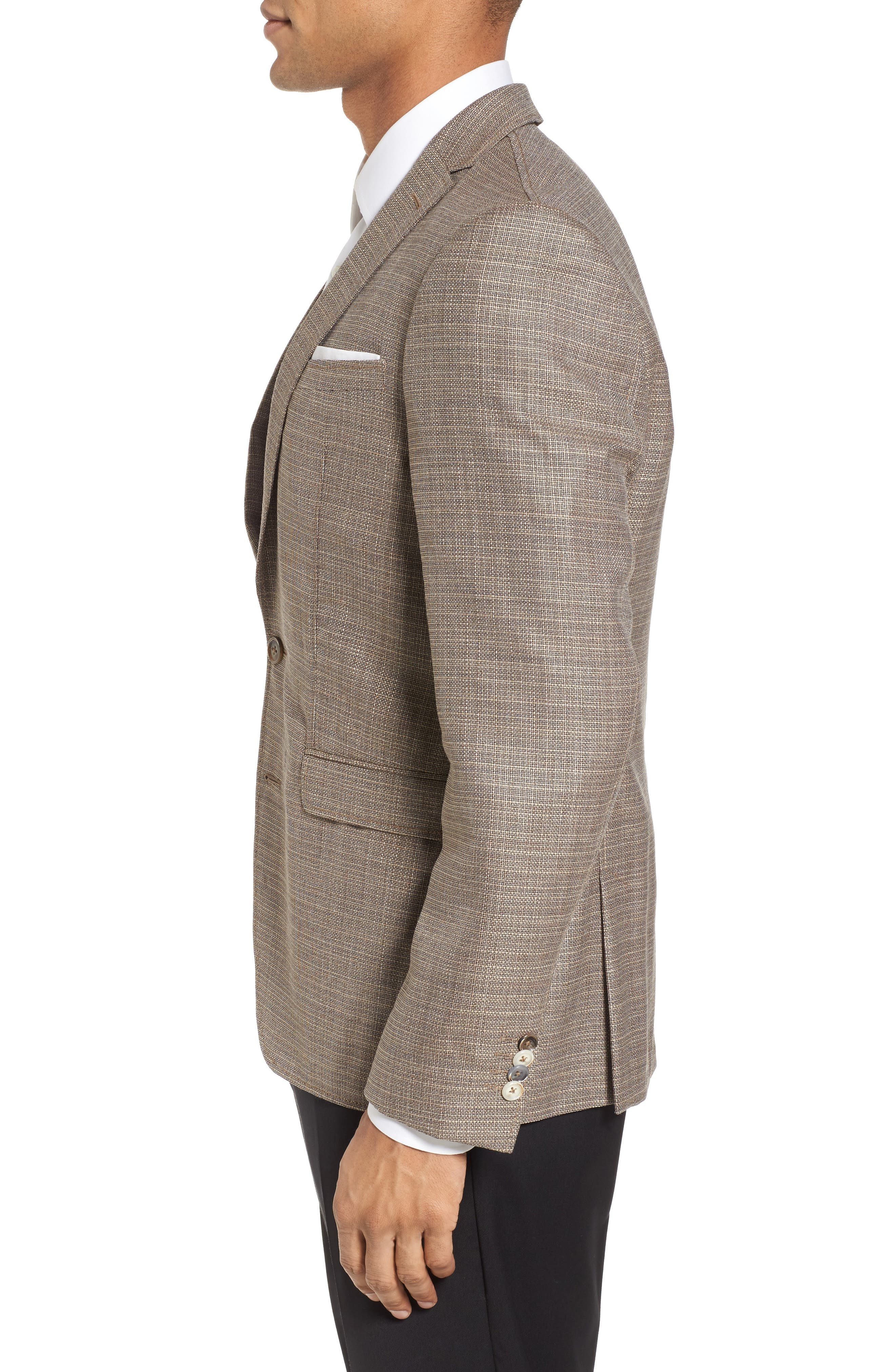 Trim Fit Wool Blazer,                             Alternate thumbnail 3, color,                             Khaki