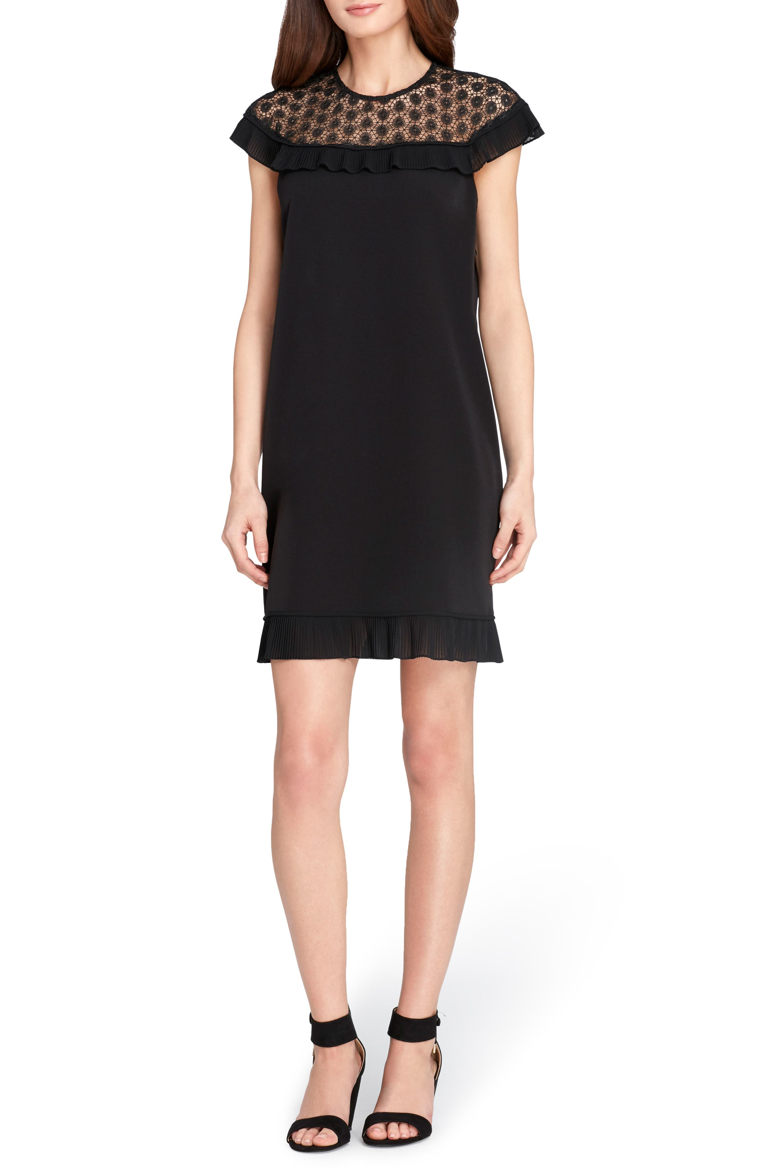 Lace & Ruffle Trim Shift Dress,                         Main,                         color, Black