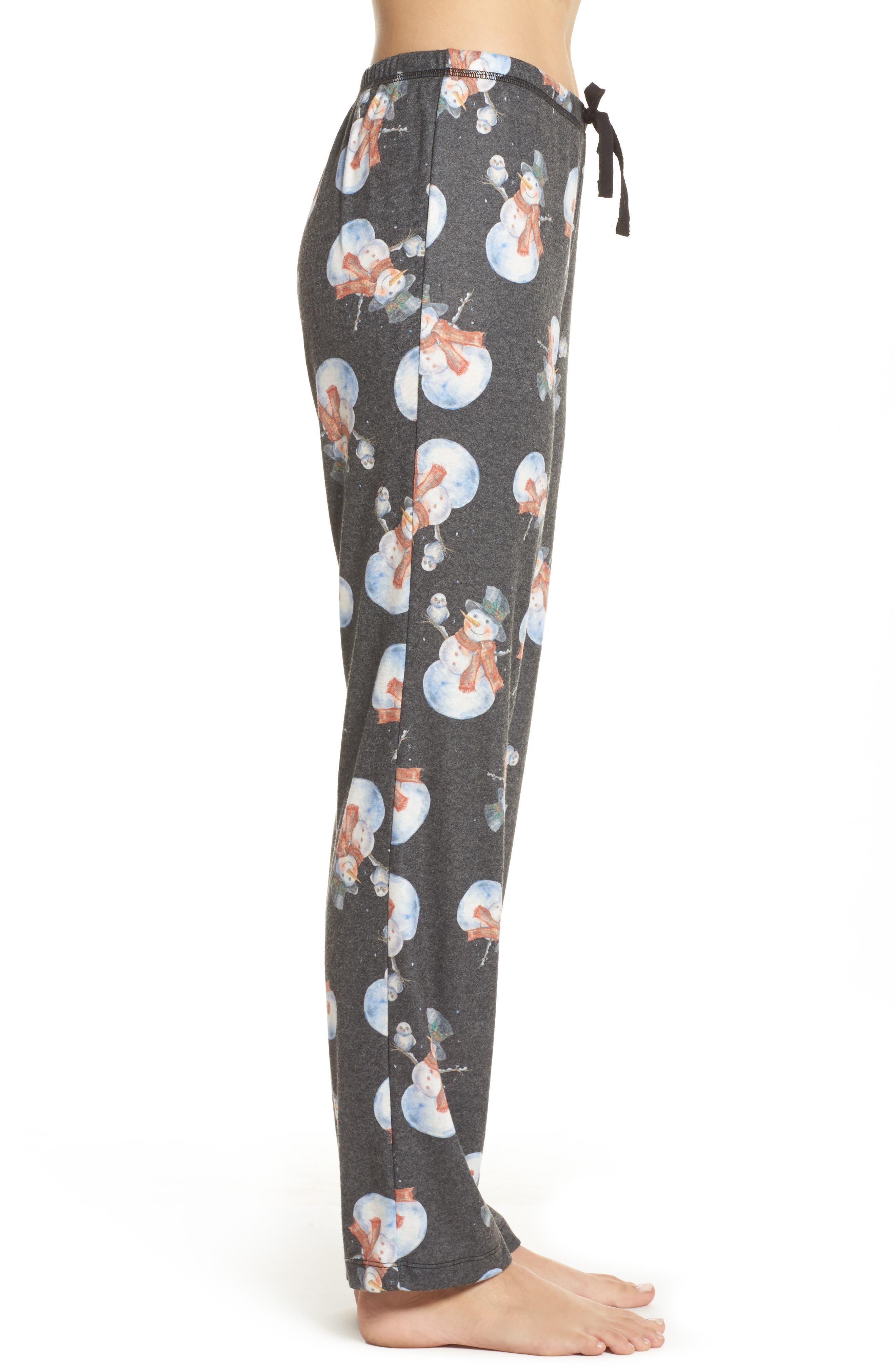 Emma Flannel Pajama Pants,                             Alternate thumbnail 3, color,                             Grey