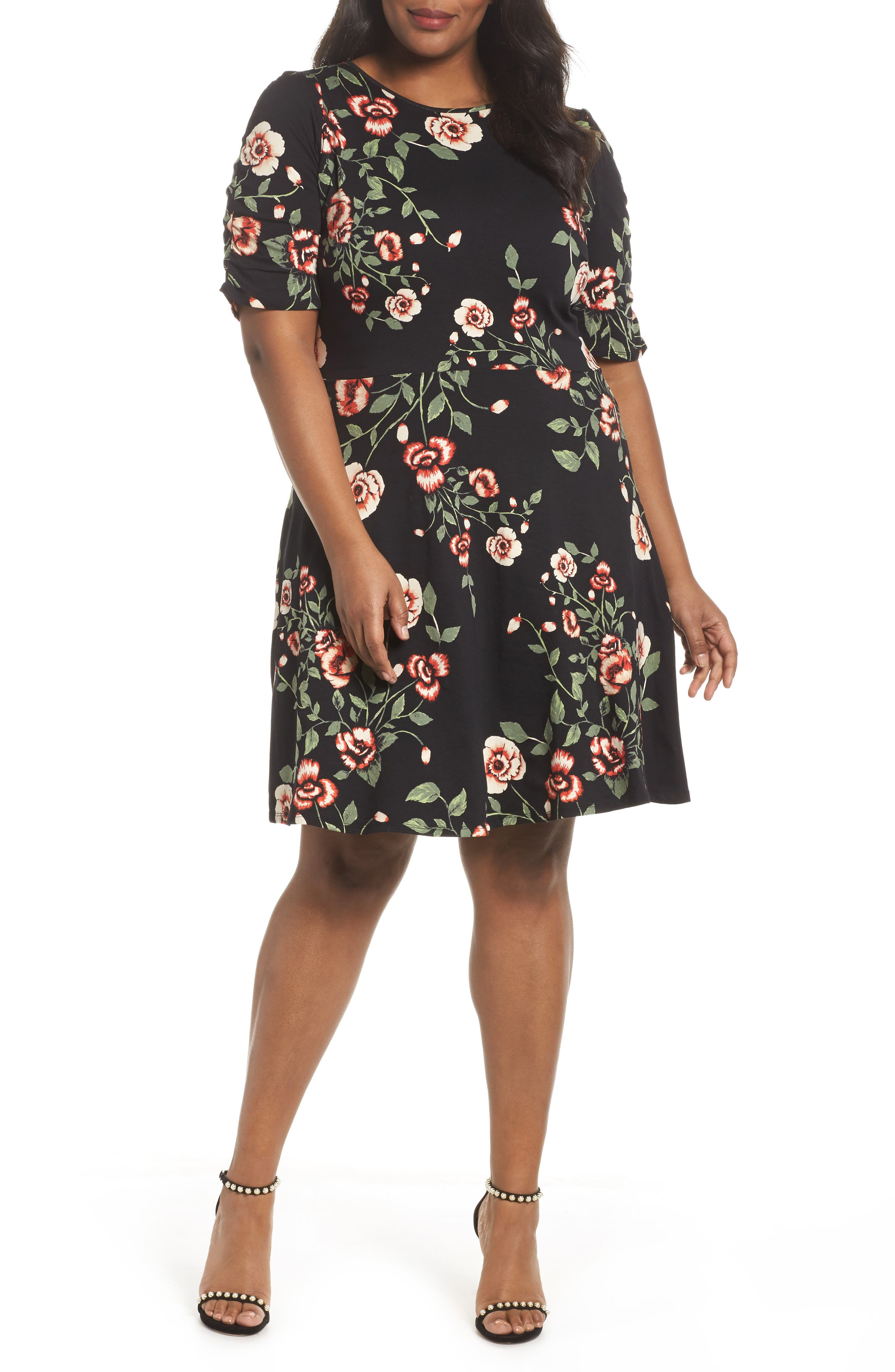 Ruched Sleeve Floral Fit & Flare Dress,                         Main,                         color, Red
