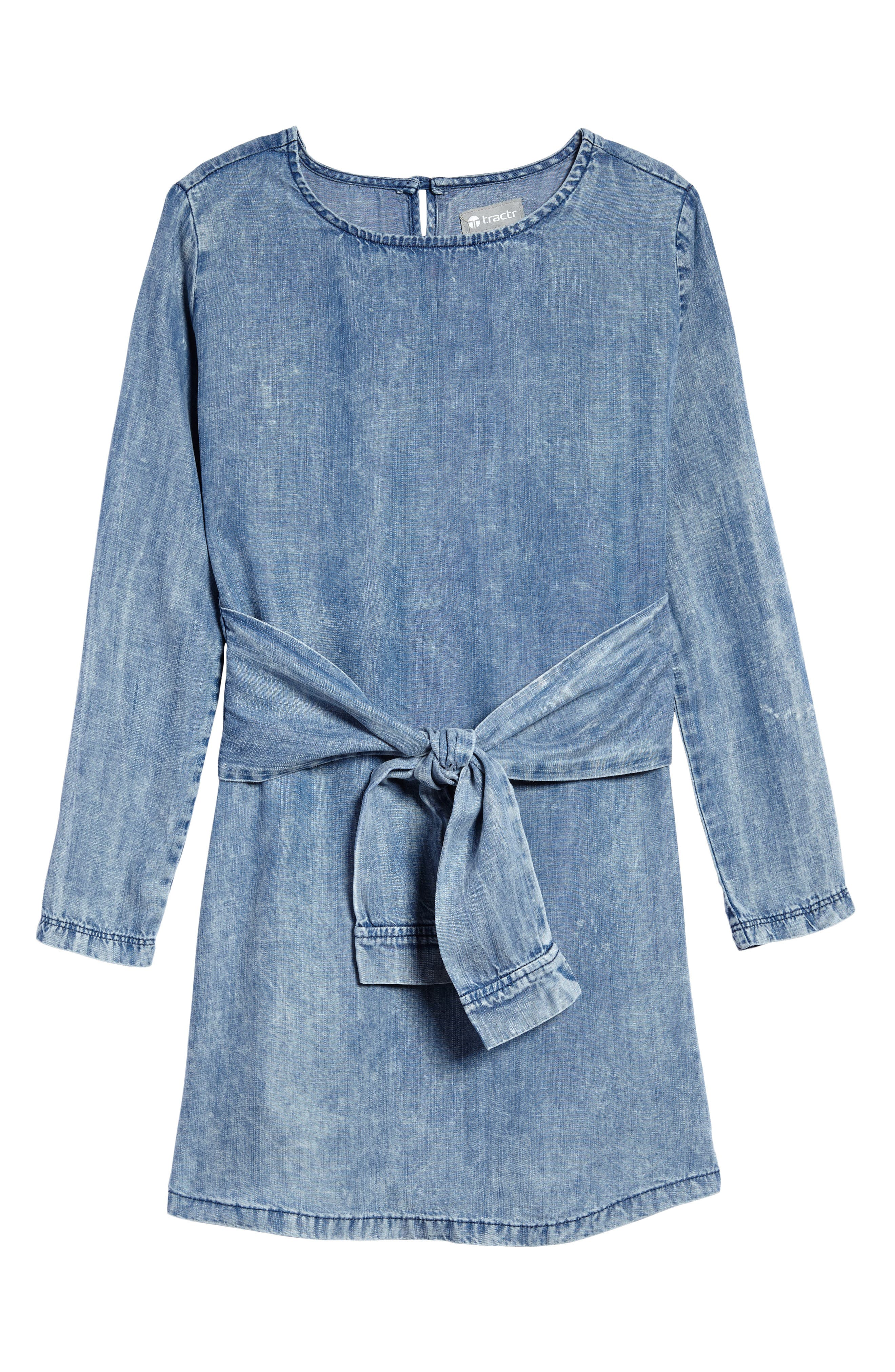 Alternate Image 1 Selected - Tractr Tie Front Chambray Dress (Big Girls)