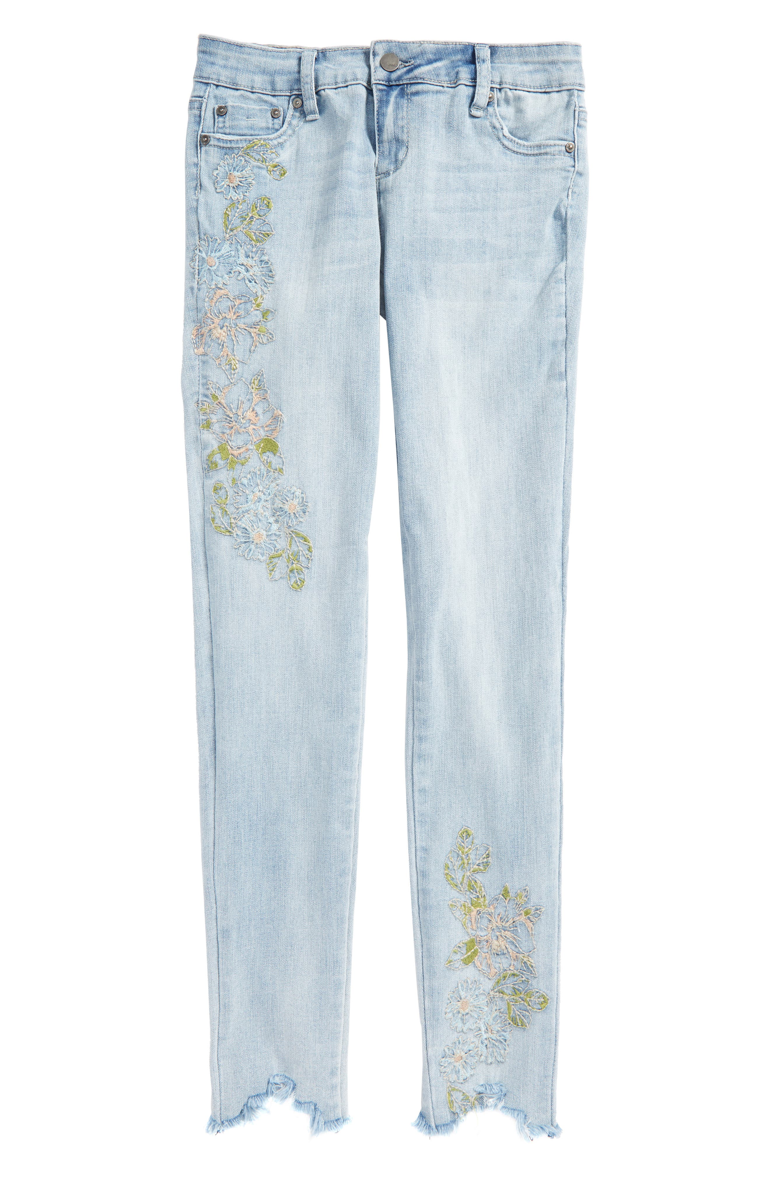 Embroidered Skinny Jeans,                             Main thumbnail 1, color,                             Light Indigo