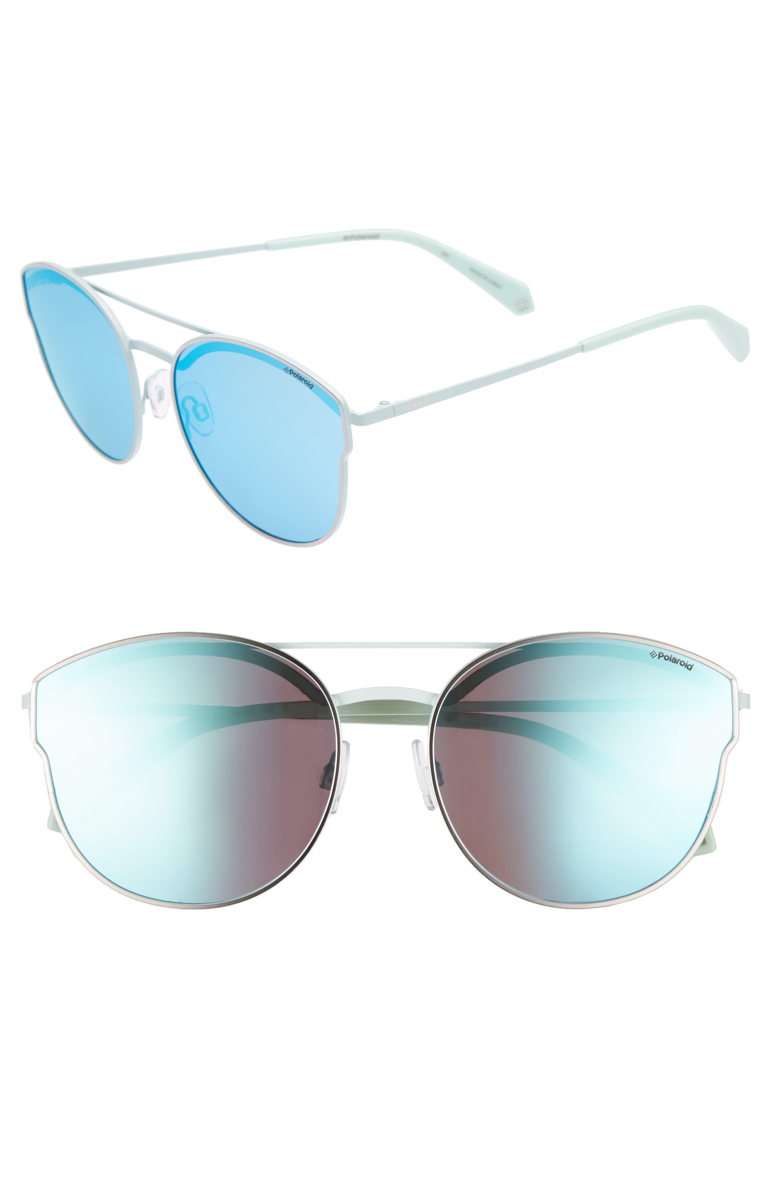 60mm Polarized Round Aviator Sunglasses,                             Main thumbnail 1, color,                             Ruthenium