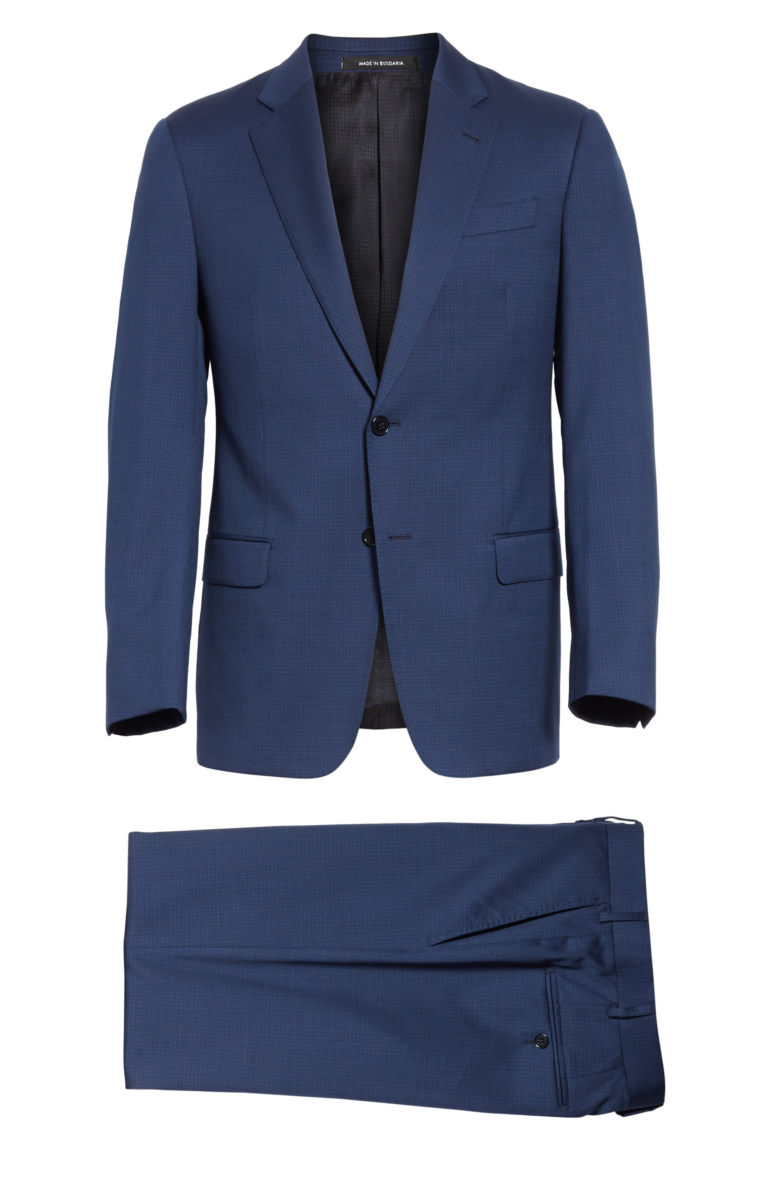 G Line Trim Fit Check Wool Suit,                             Alternate thumbnail 7, color,                             Navy
