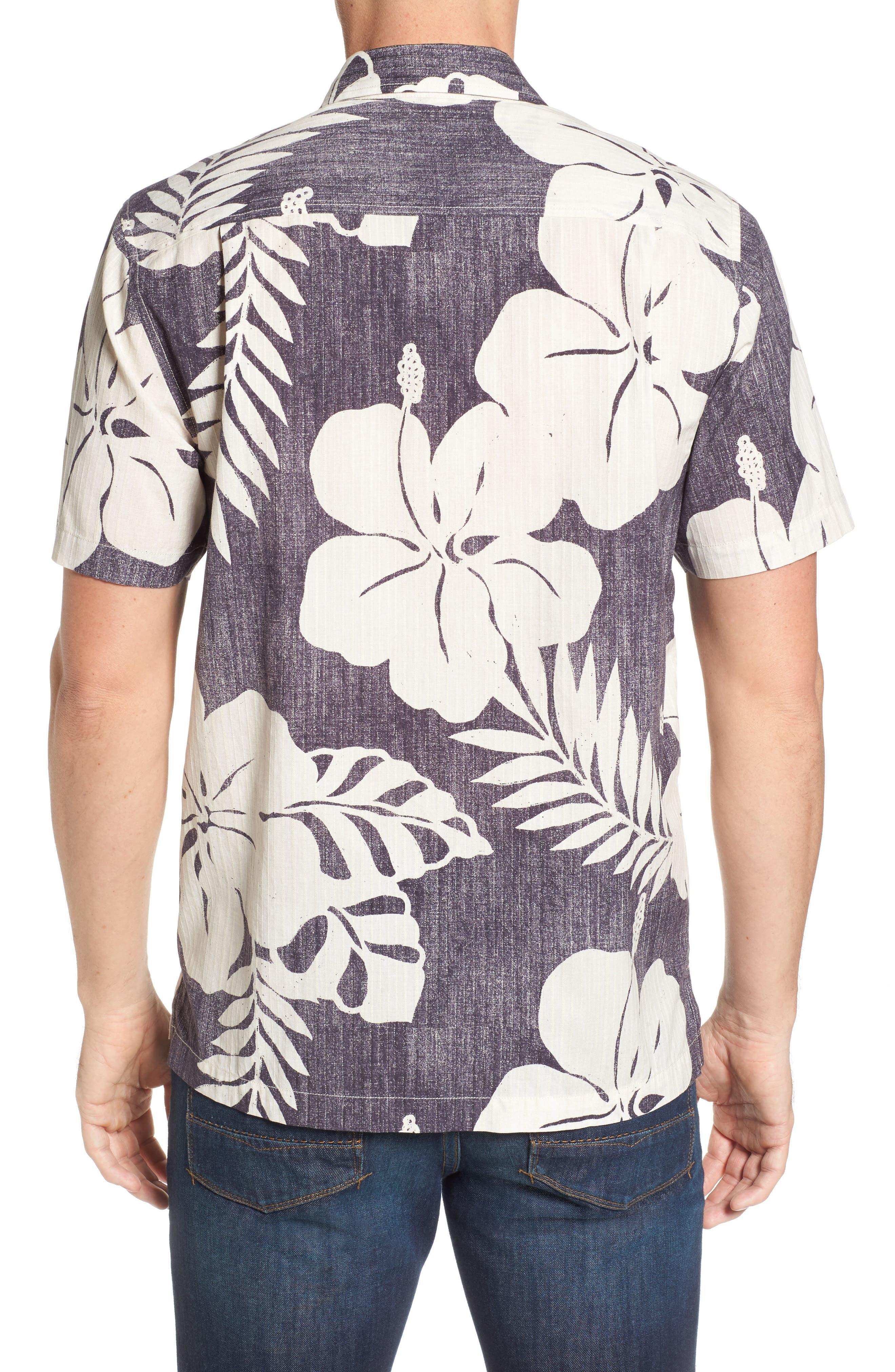 Hialeah Hibiscus Camp Shirt,                             Alternate thumbnail 2, color,                             Steel Wool