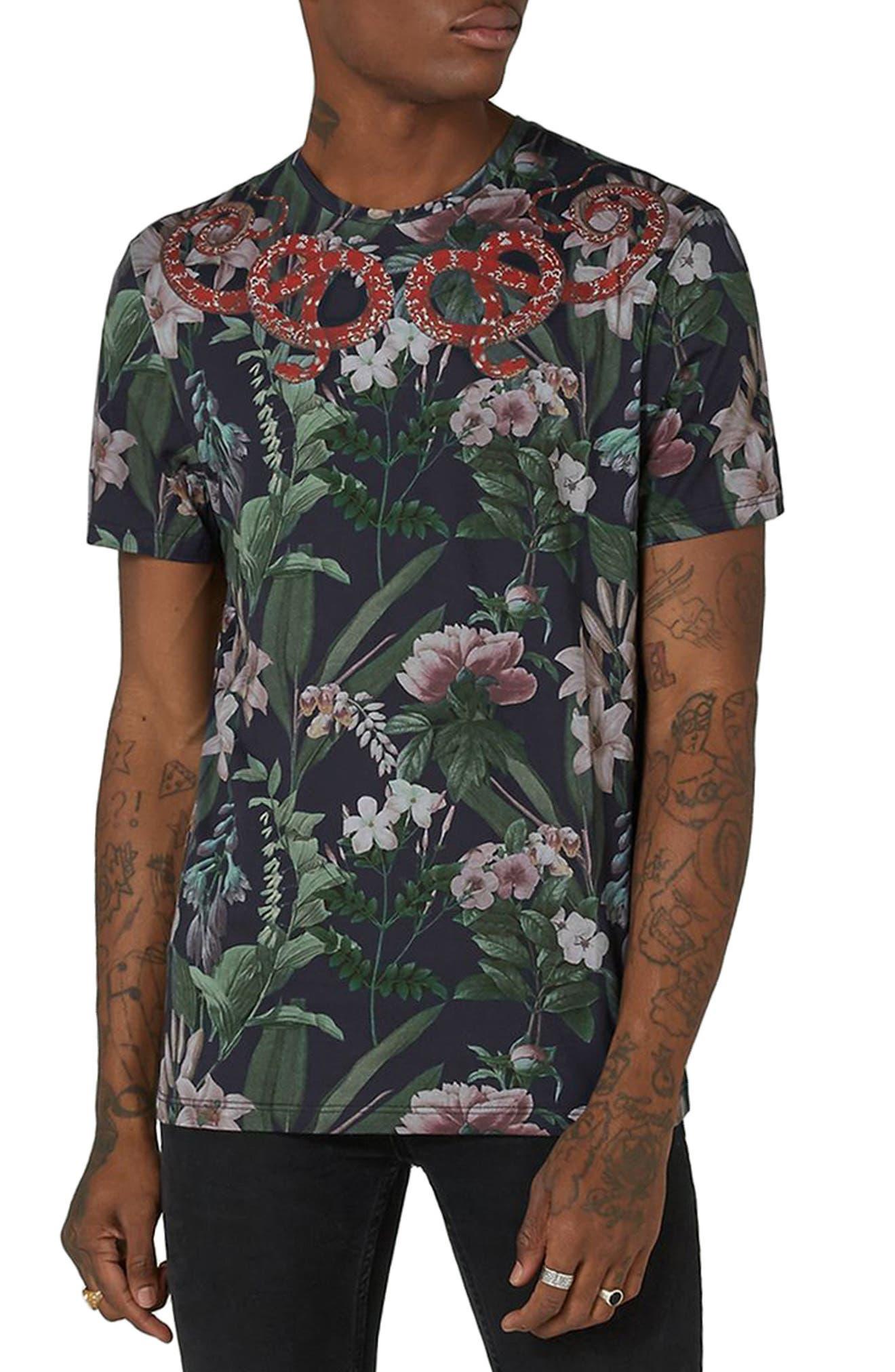 Alternate Image 1 Selected - Topman Snake Print T-Shirt