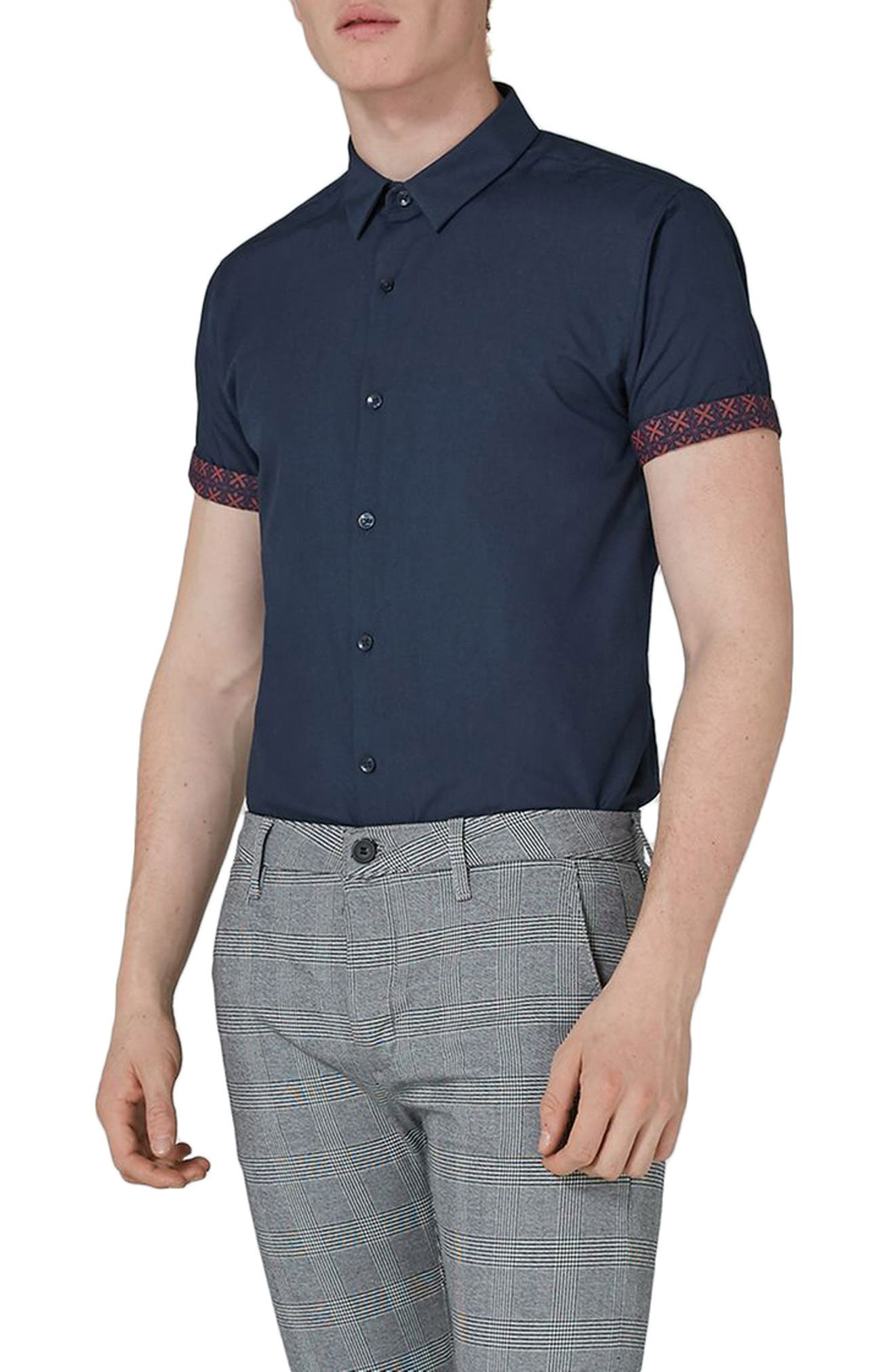 Slim Fit Turn Up Sleeve Shirt,                         Main,                         color, Navy Blue Multi