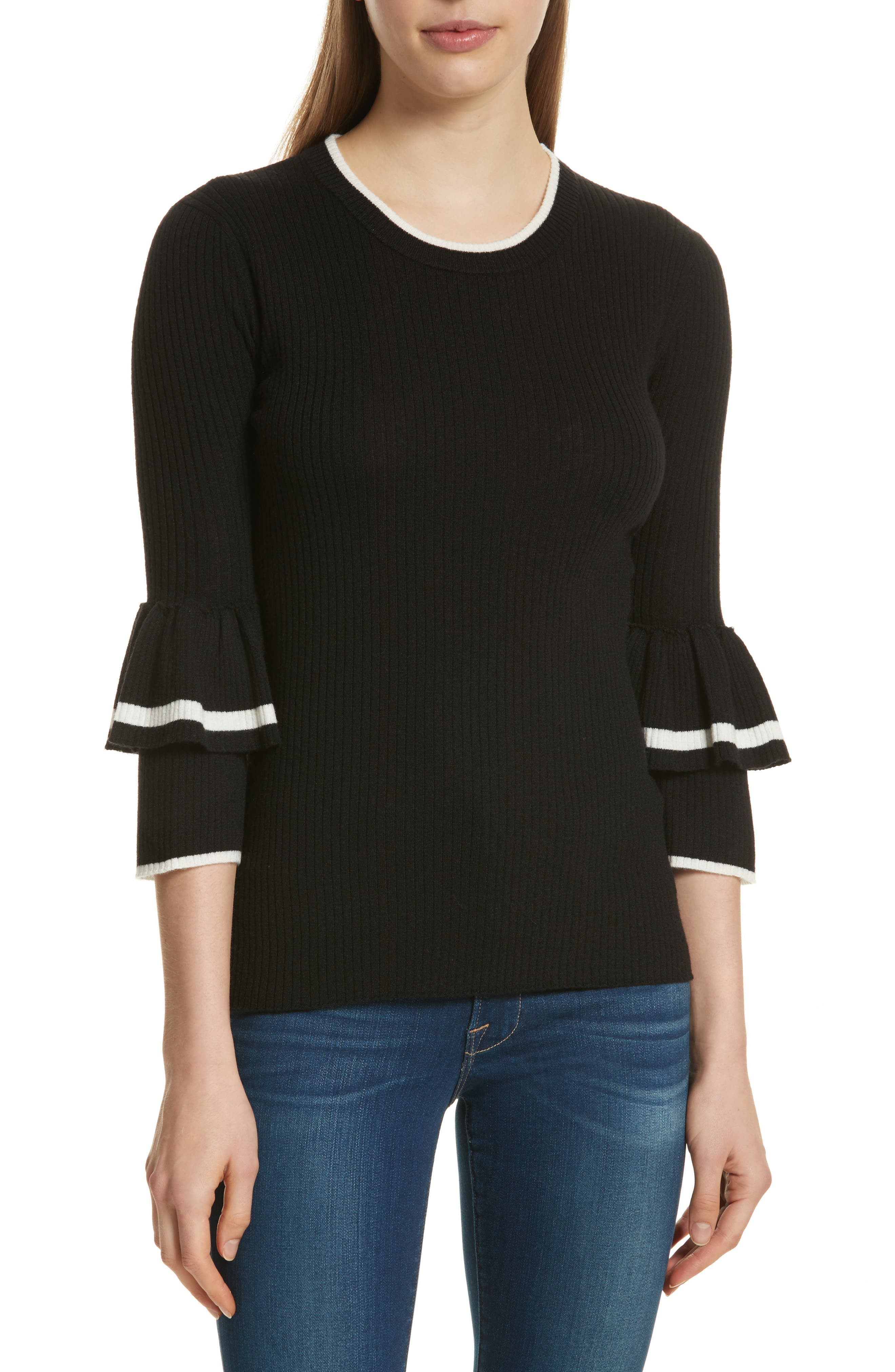 Double Ruffle Cuff Sweater,                             Main thumbnail 1, color,                             Noir Multi