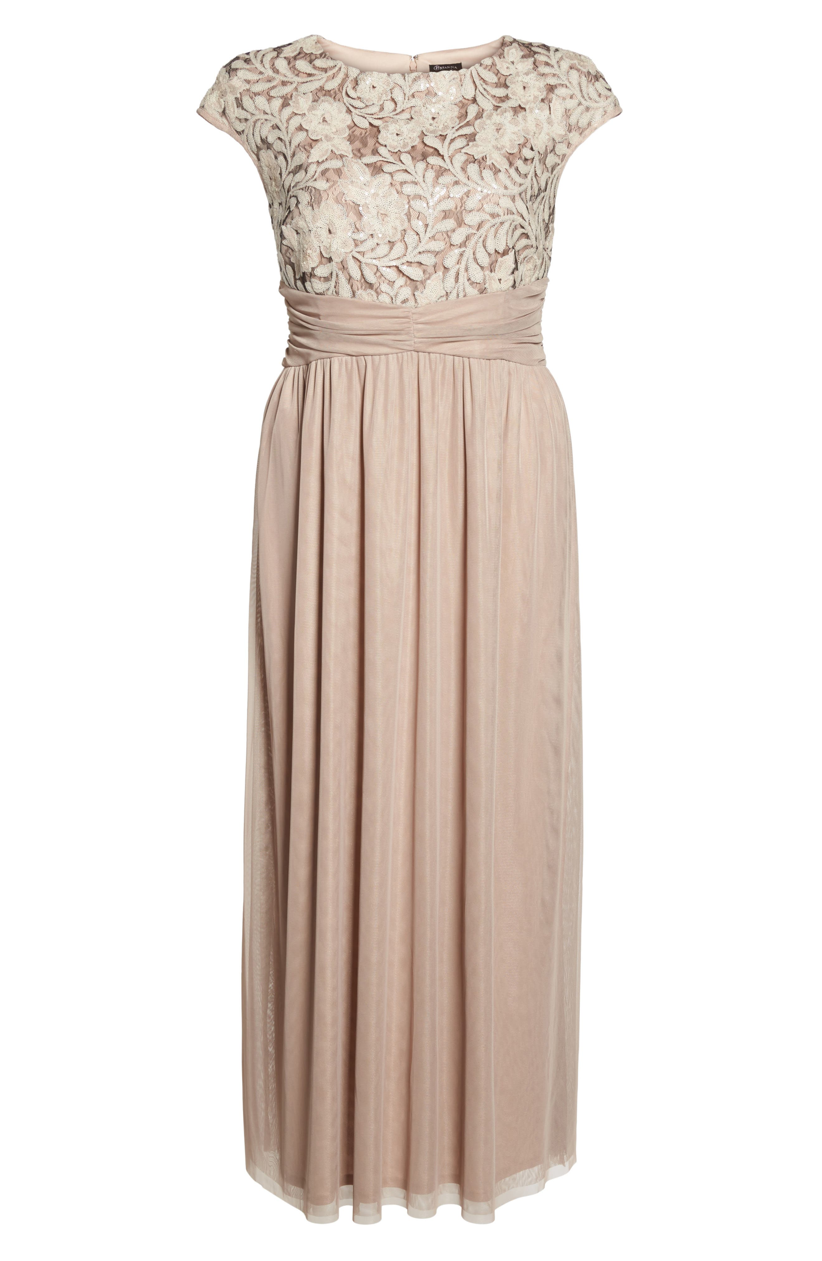 Embellished Cap Sleeve Gown,                             Alternate thumbnail 6, color,                             Champagne