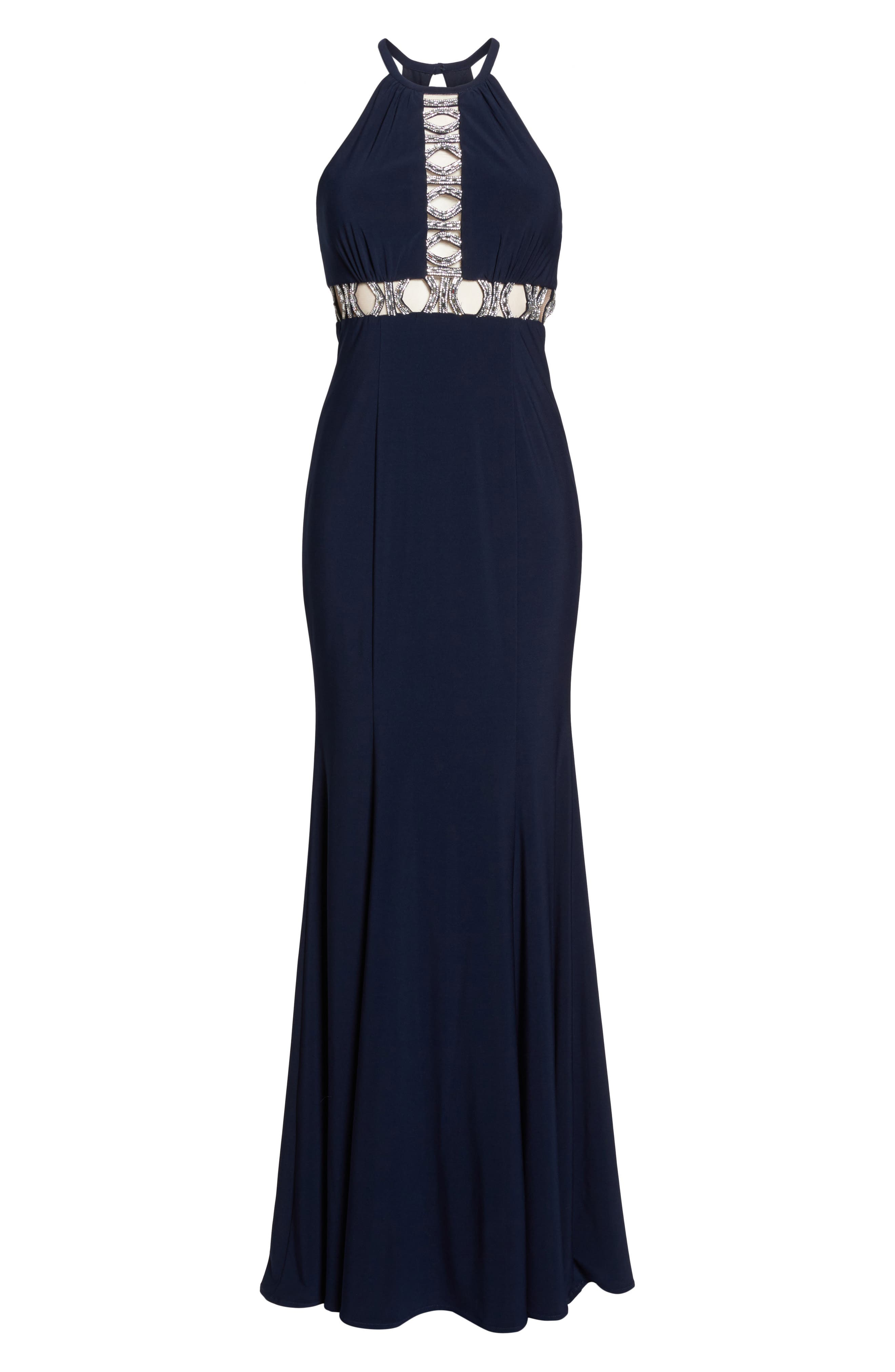 Embellished Halter Mermaid Gown,                             Alternate thumbnail 6, color,                             Navy/ Silver