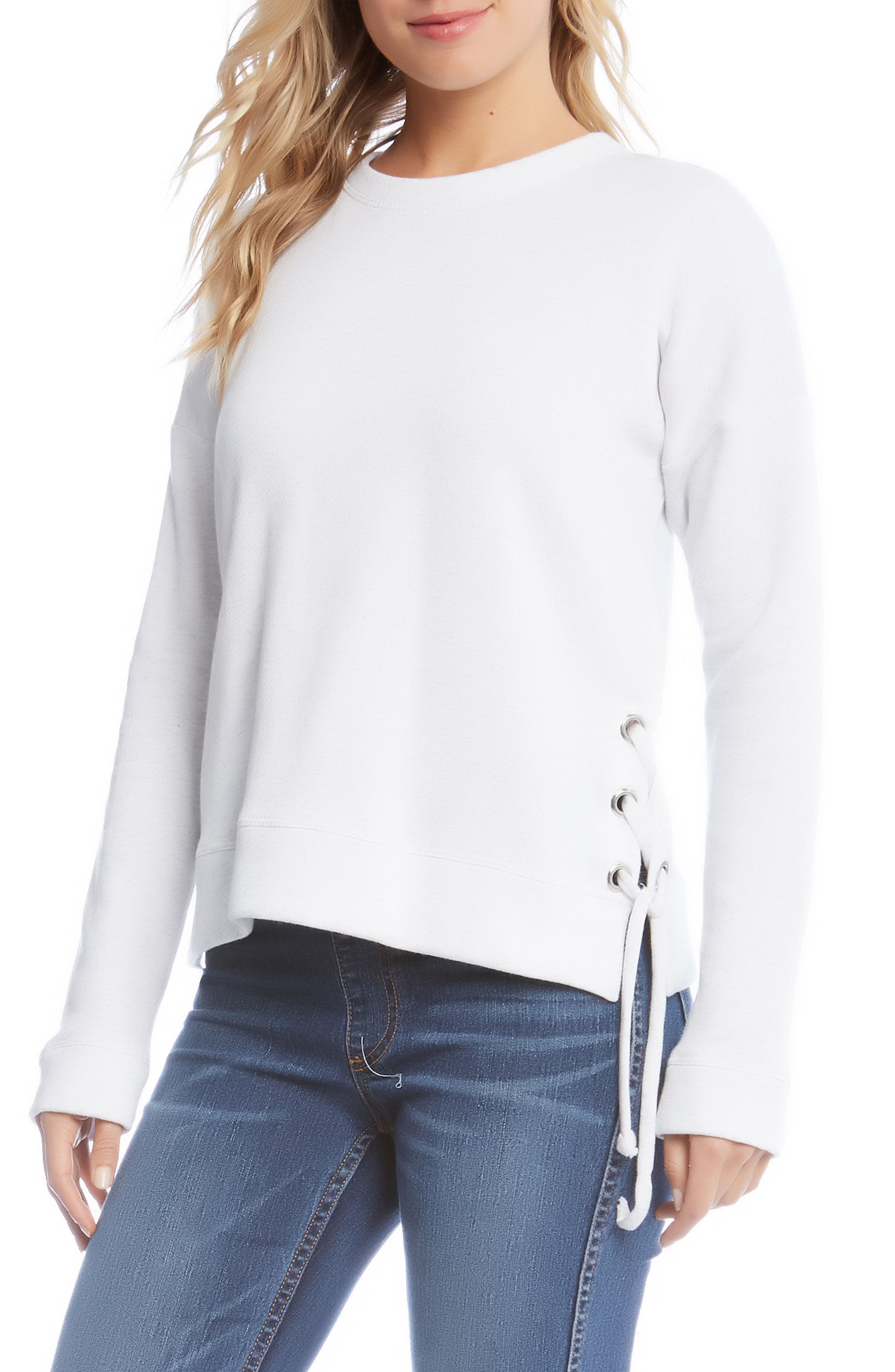 Side Lace-Up Sweatshirt,                         Main,                         color, White With Grey