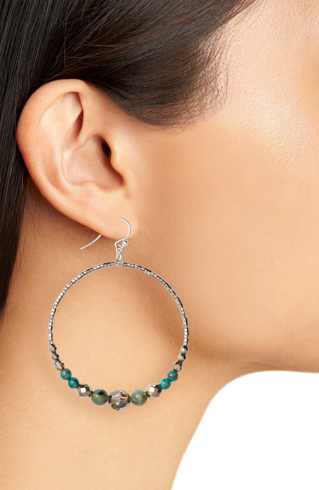 Alternate Image 2  - Chan Luu Semiprecious Stone Frontal Hoop Earrings