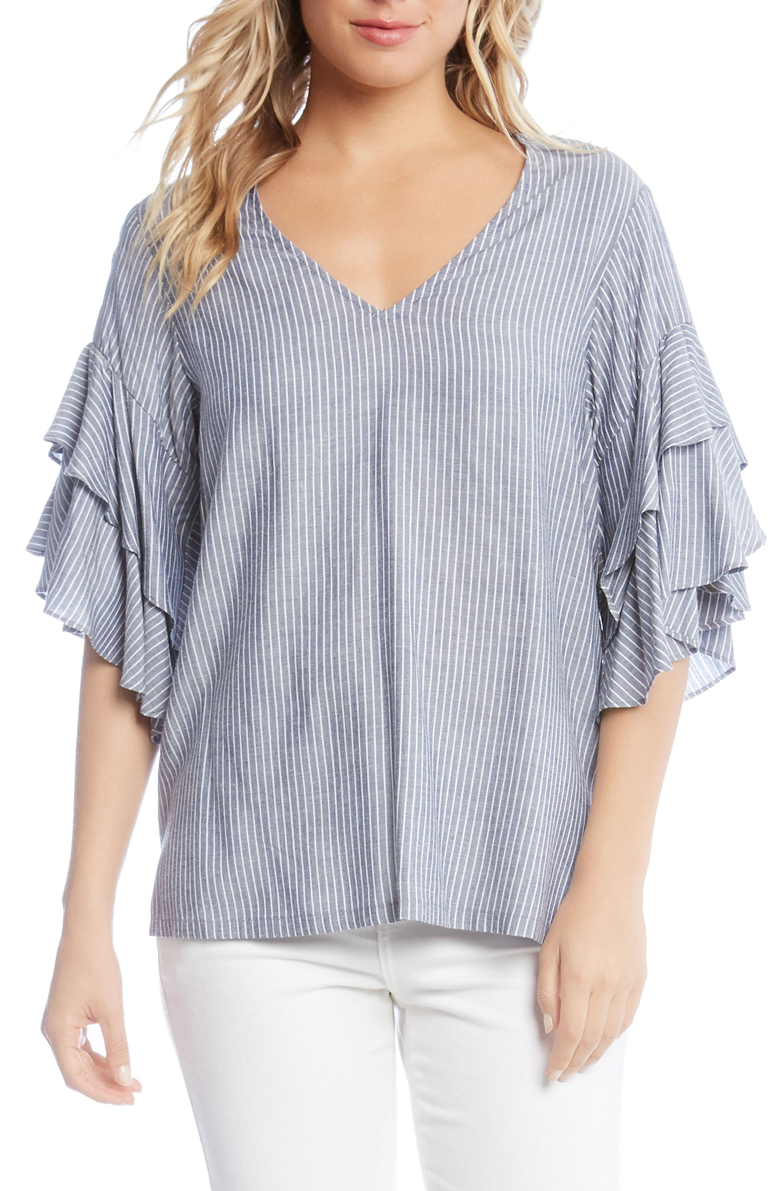 Ruffled Stripe Chambray Top,                         Main,                         color, Striped