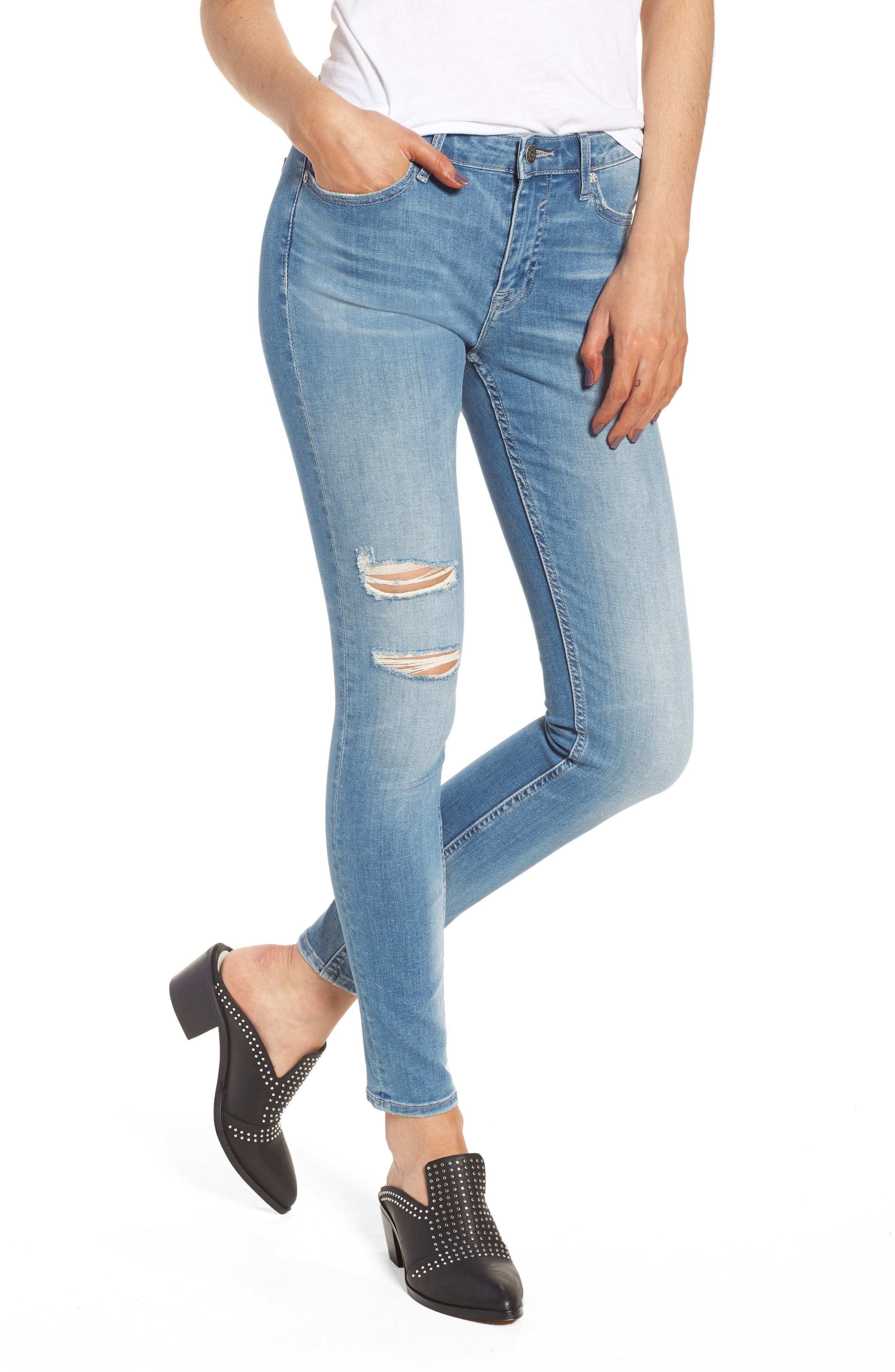 Marley Ripped Skinny Jeans,                             Main thumbnail 1, color,                             Light Wash