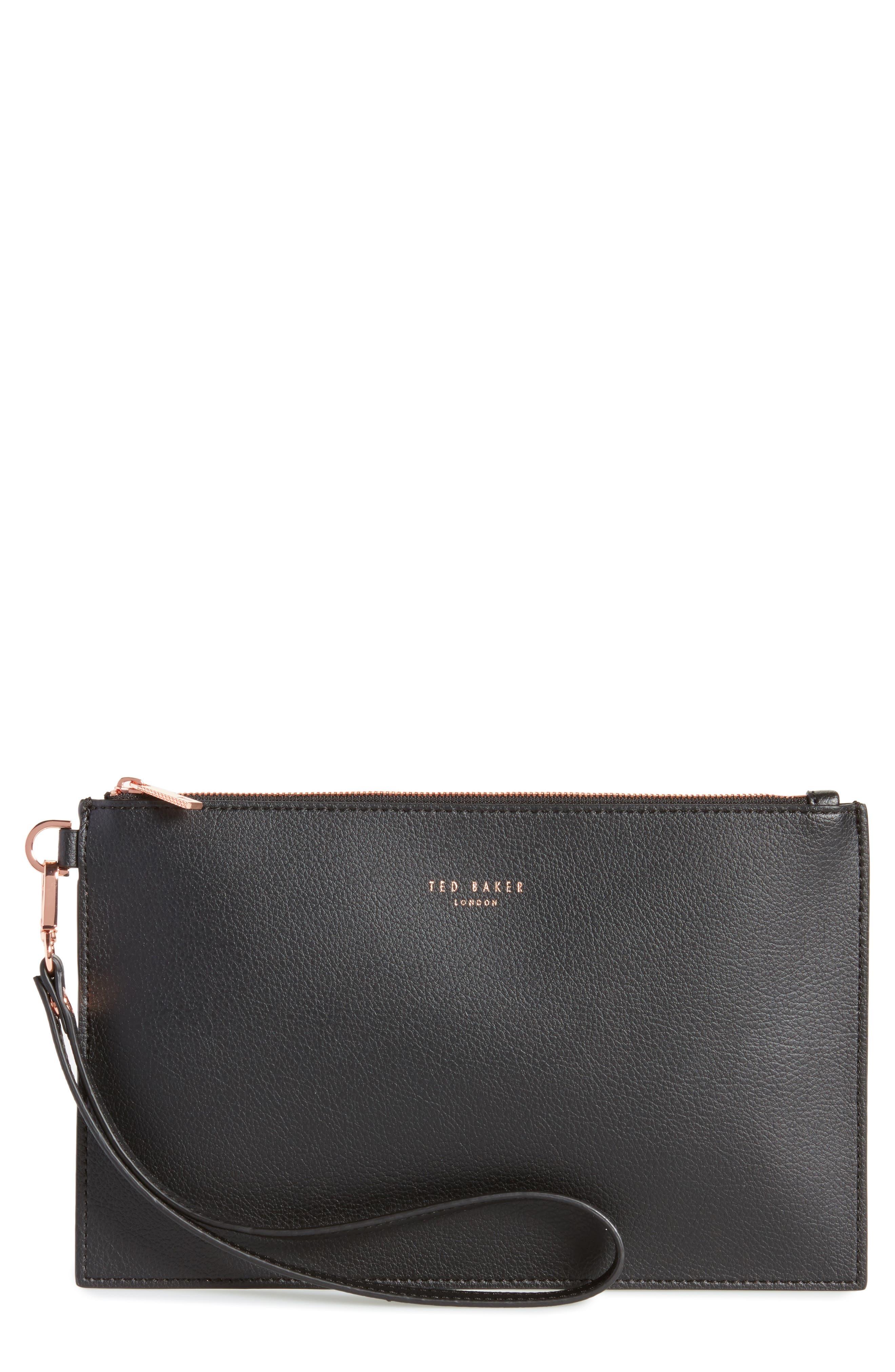 Top Zip Faux Leather Pouch,                         Main,                         color, Black