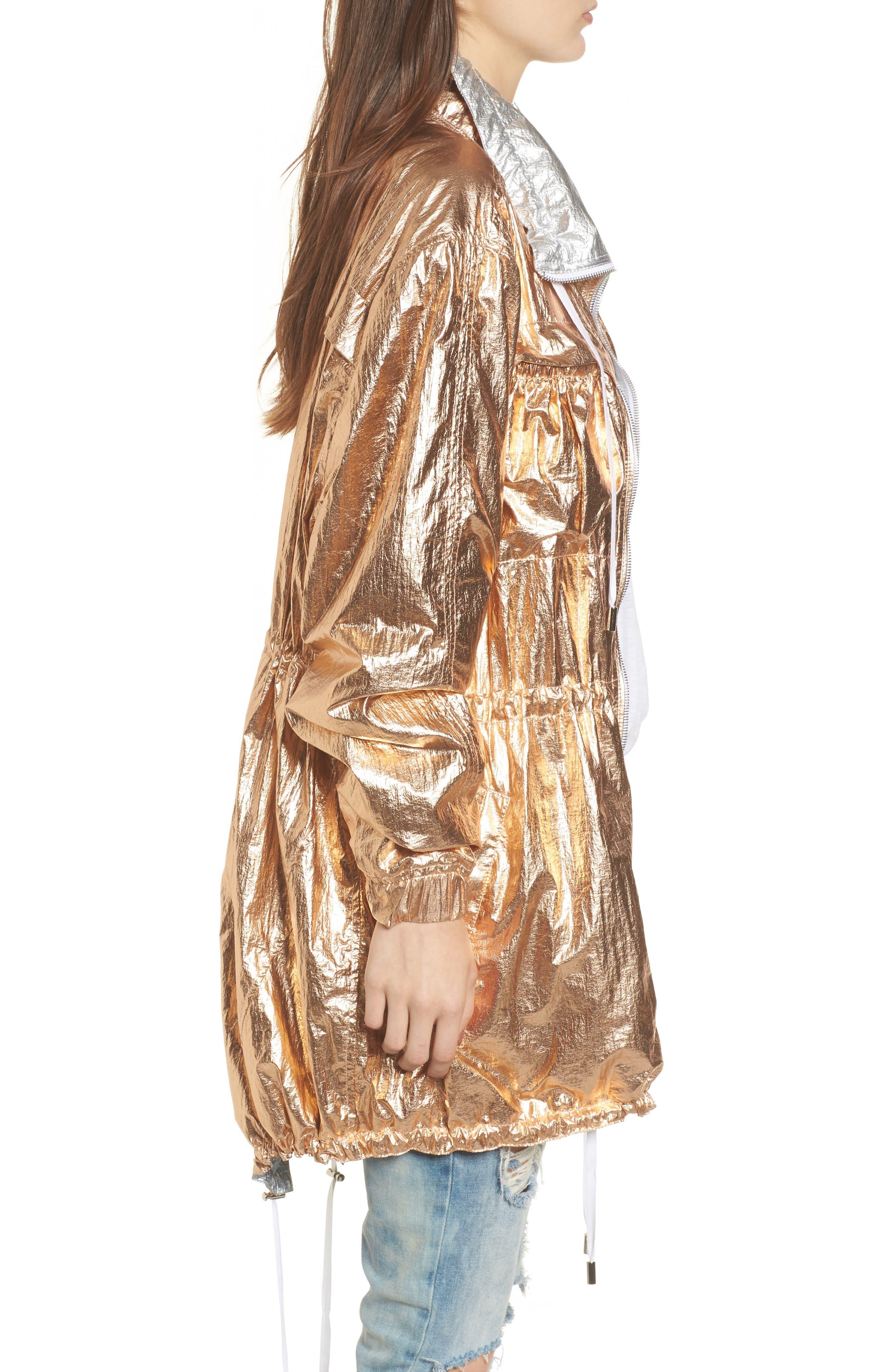 Reversible Metallic Long Jacket,                             Alternate thumbnail 3, color,                             Shine On Rose Gold