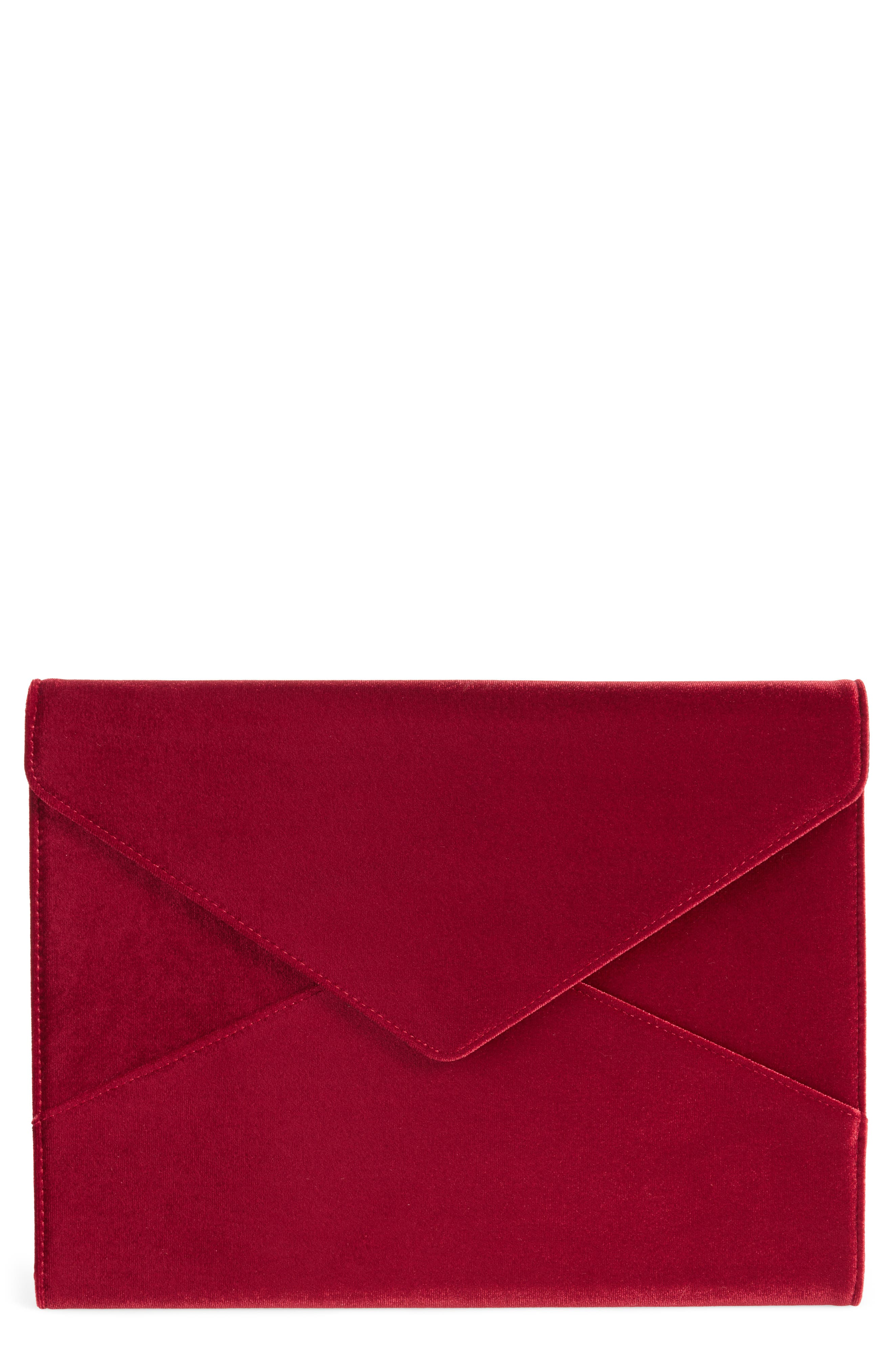 Red Velvet Laptop Clutch,                             Main thumbnail 1, color,                             Red