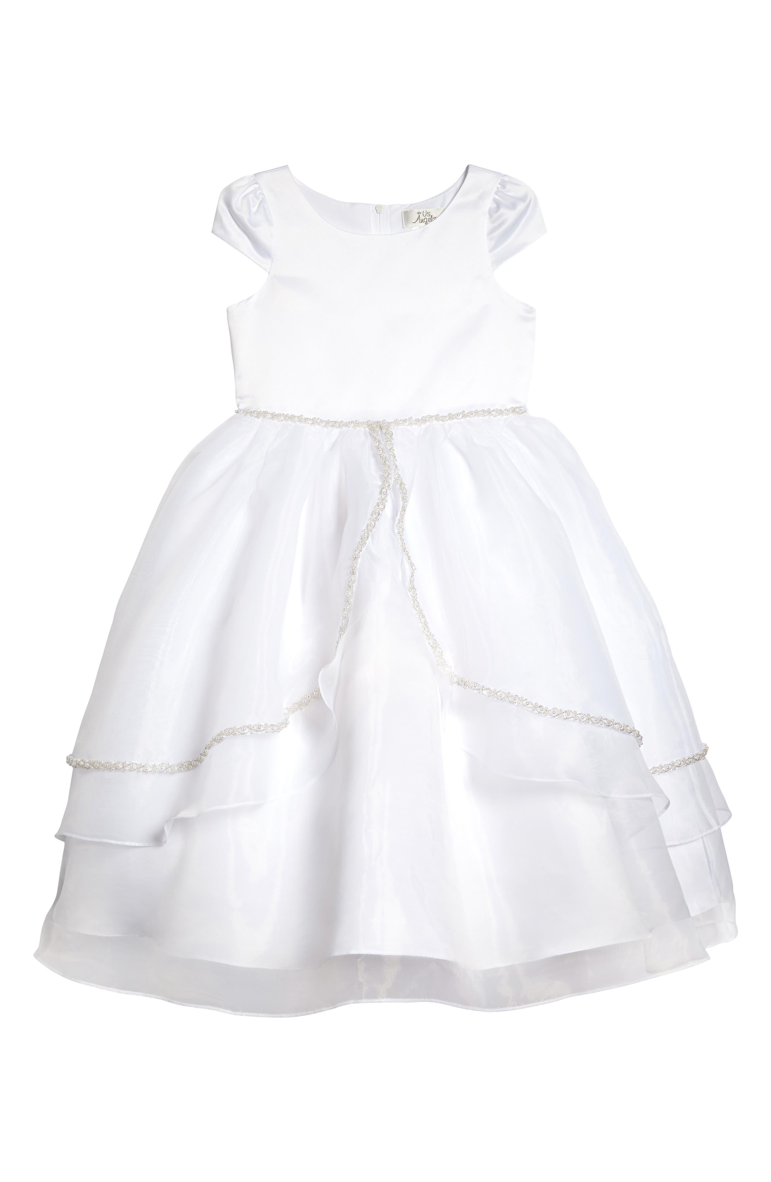 Satin & Organza Dress,                             Main thumbnail 1, color,                             White