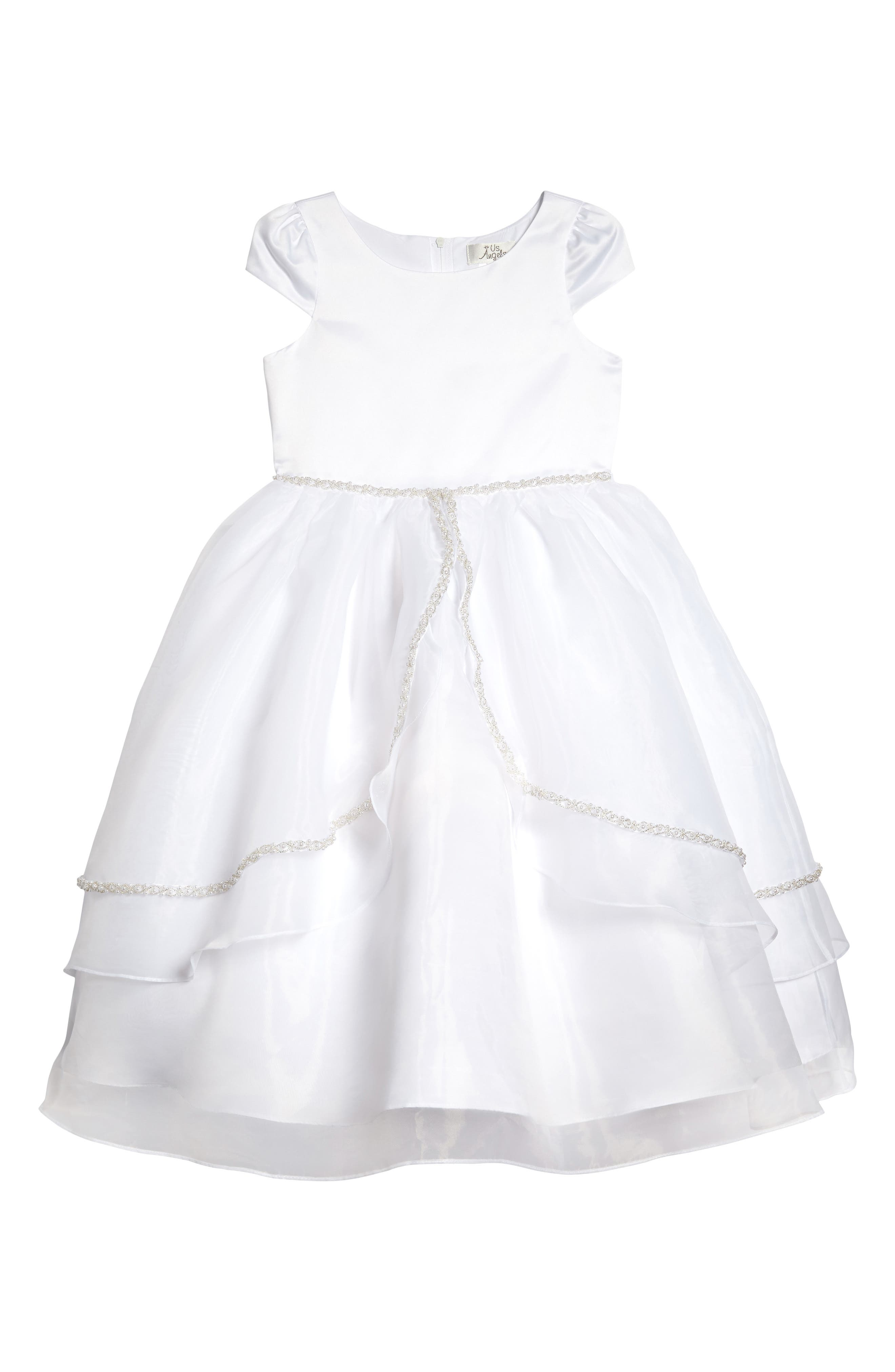 Satin & Organza Dress,                         Main,                         color, White