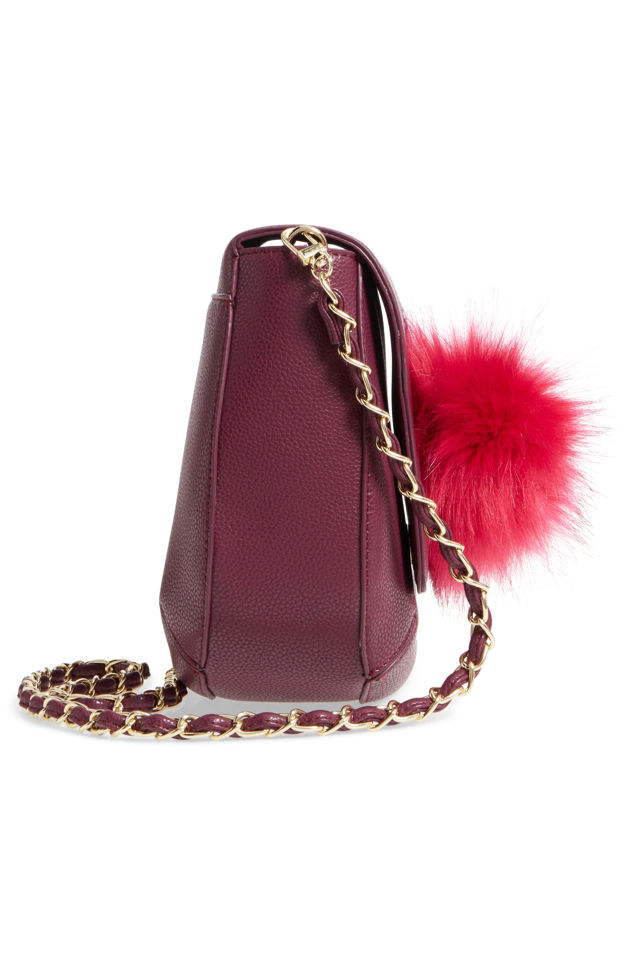 Isa Faux Leather Crossbody Bag,                             Alternate thumbnail 5, color,                             Berry Sweet/ Boysenberry