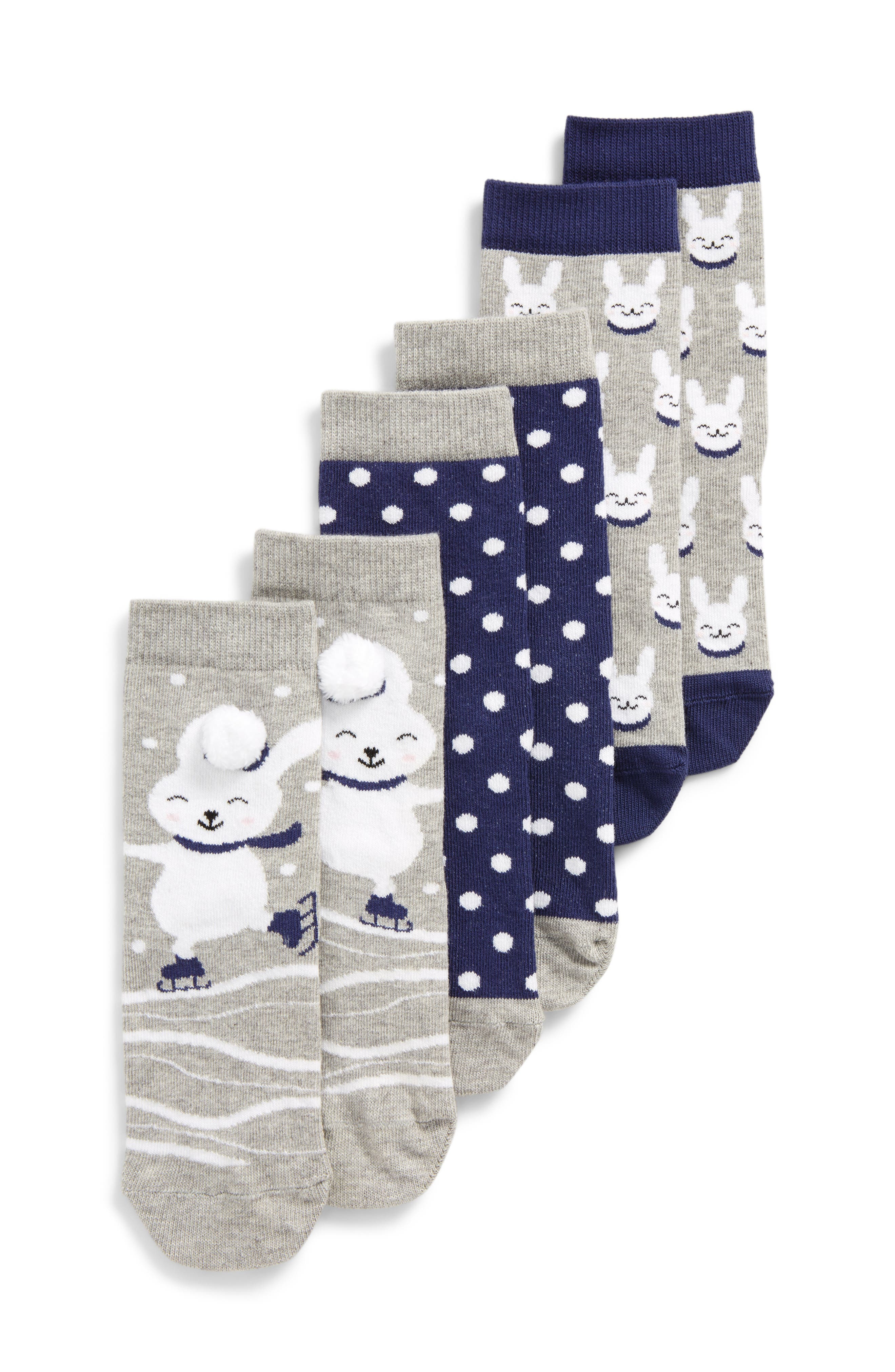 Tucker + Tate 3-Pack Bunny Crew Socks (Toddler, Little Kid & Big Kid)