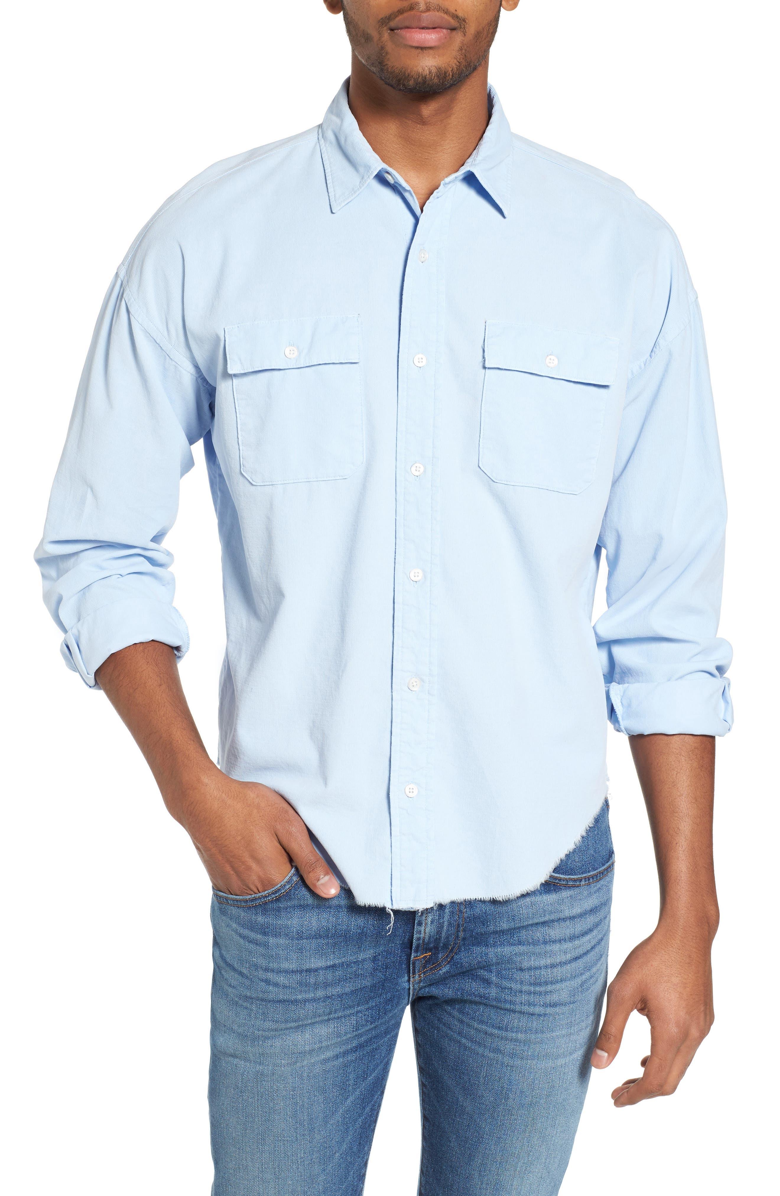 Regular Fit Corduroy Sport Shirt,                         Main,                         color, Faded Light Blue