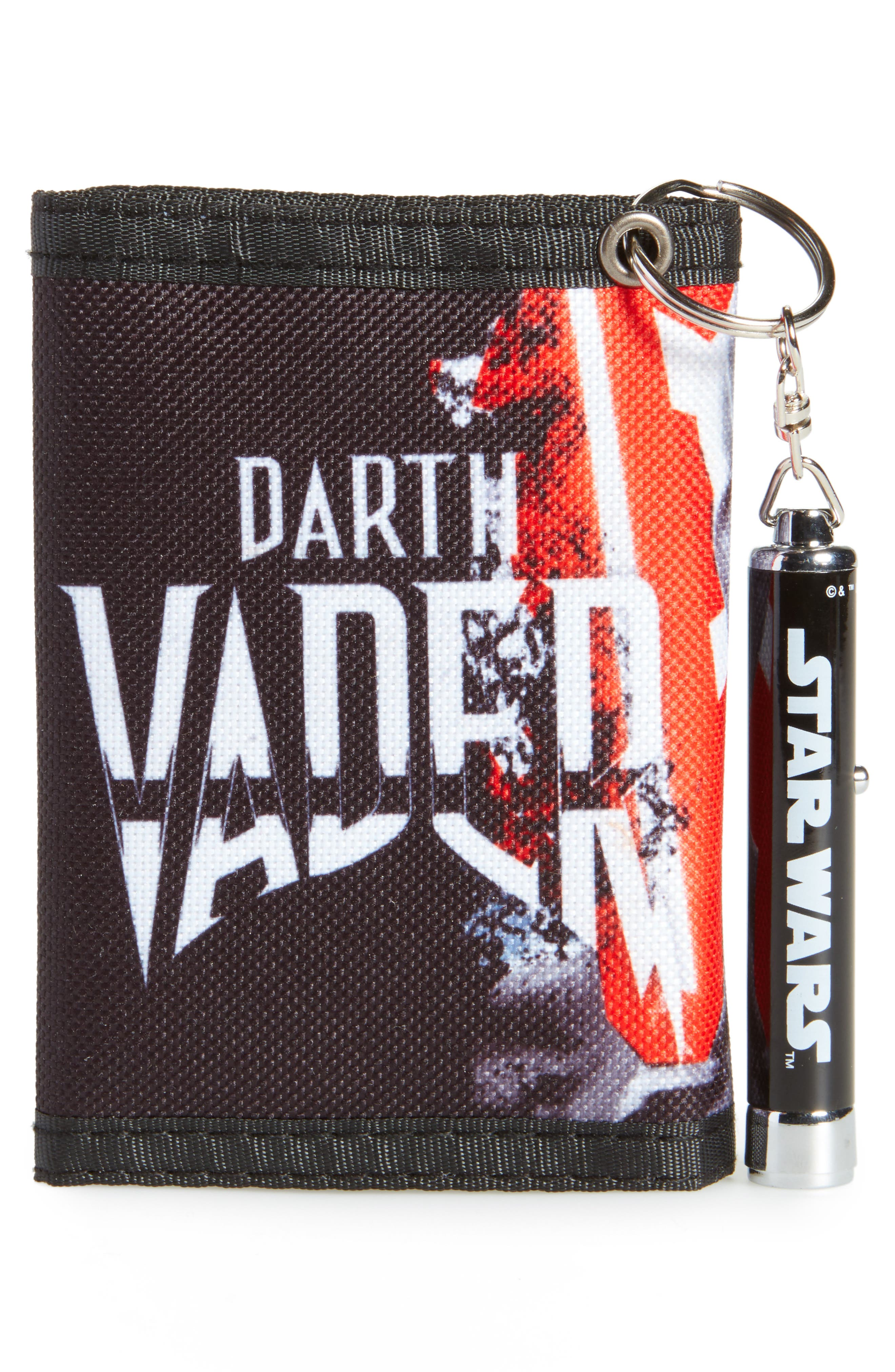 Darth Vader Wallet & Logo Light Key Chain,                             Alternate thumbnail 3, color,                             Black