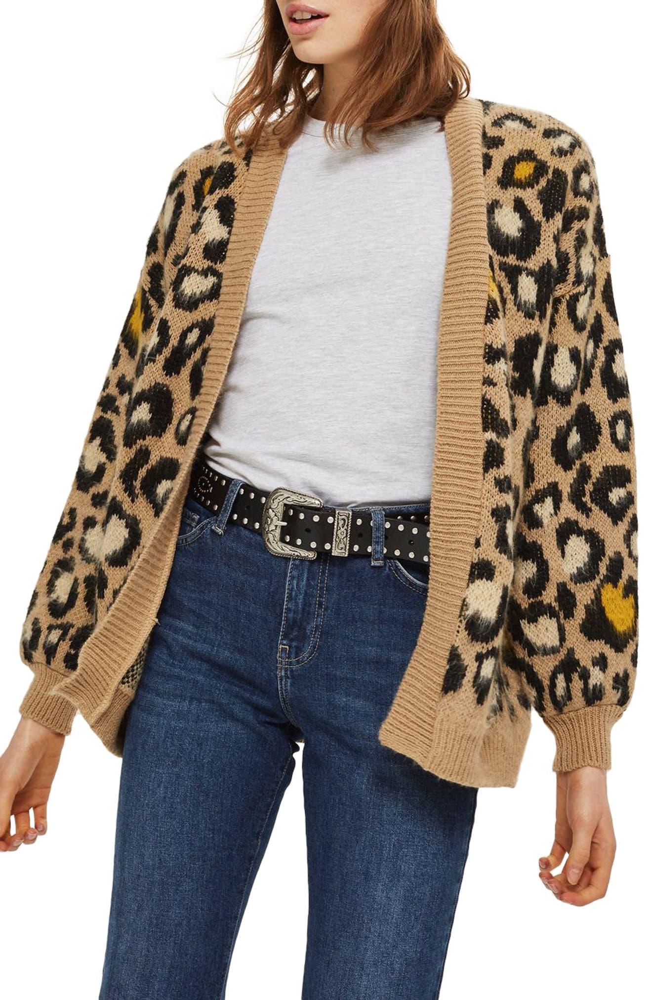 Leopard Print Cardigan,                         Main,                         color, Brown Multi