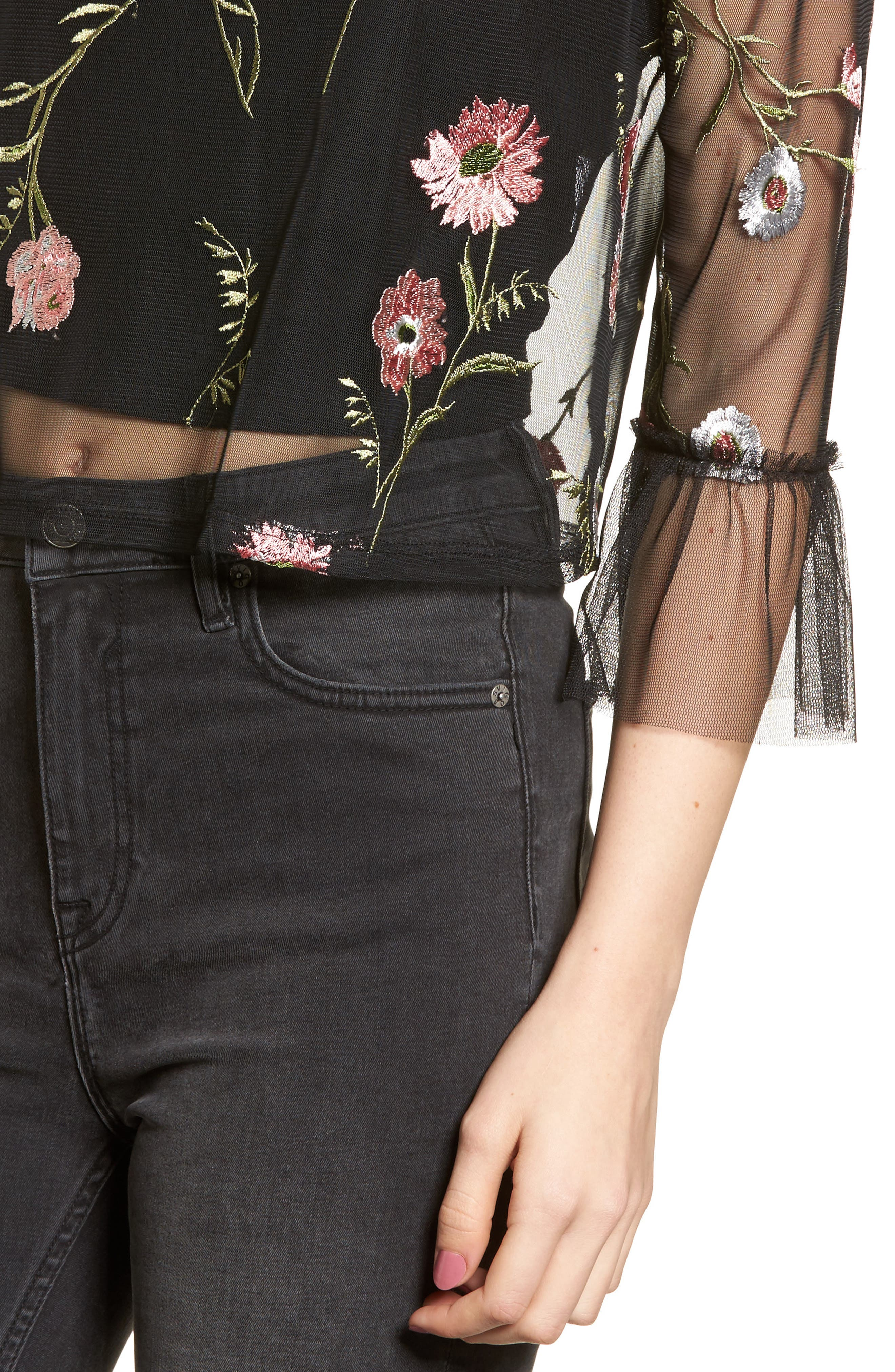 Embroidered Mesh Top,                             Alternate thumbnail 4, color,                             Black
