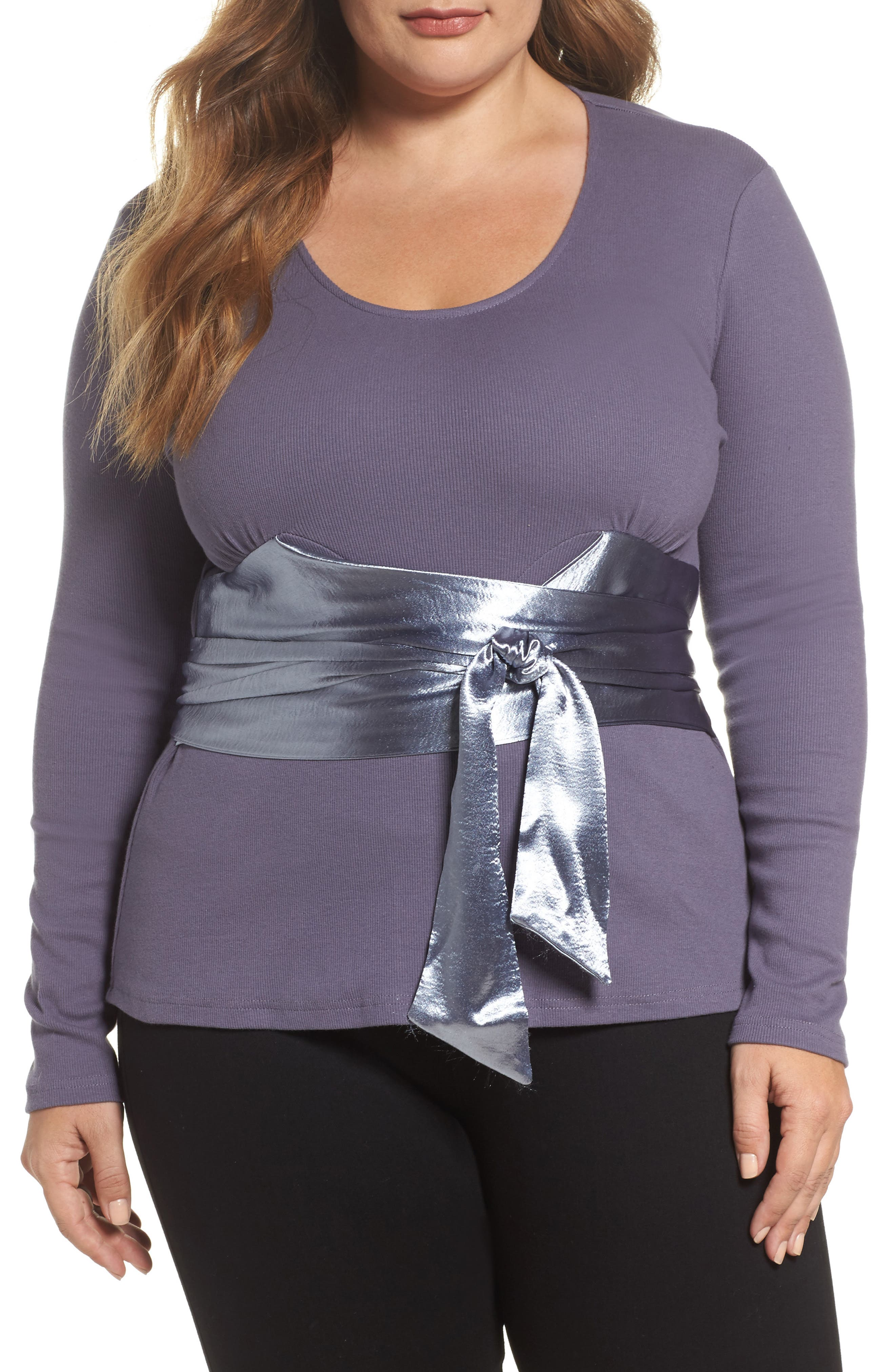 Alternate Image 1 Selected - LOST INK Satin Sash Knit Top (Plus Size)