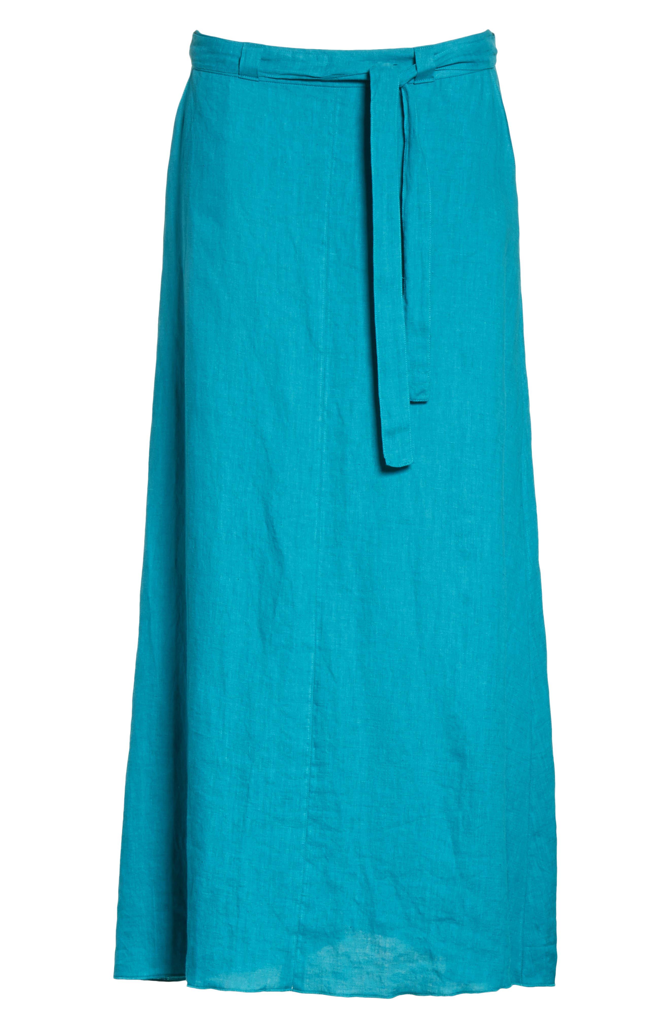 Delta Tie Waist Linen Skirt,                             Alternate thumbnail 6, color,                             Peacock