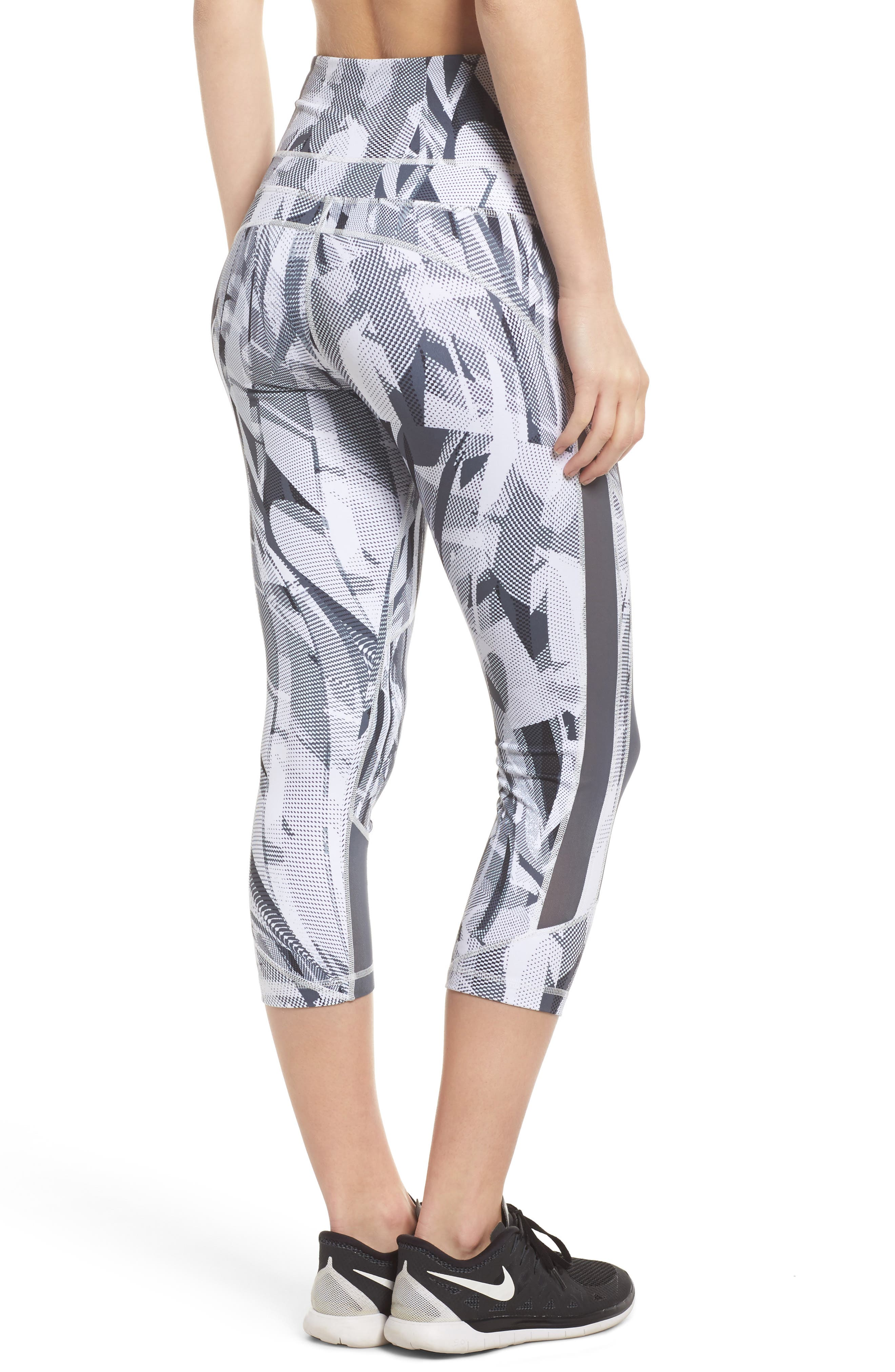 Sheer to There High Waist Crop Leggings,                             Alternate thumbnail 2, color,                             White Atmospheric Camo Print