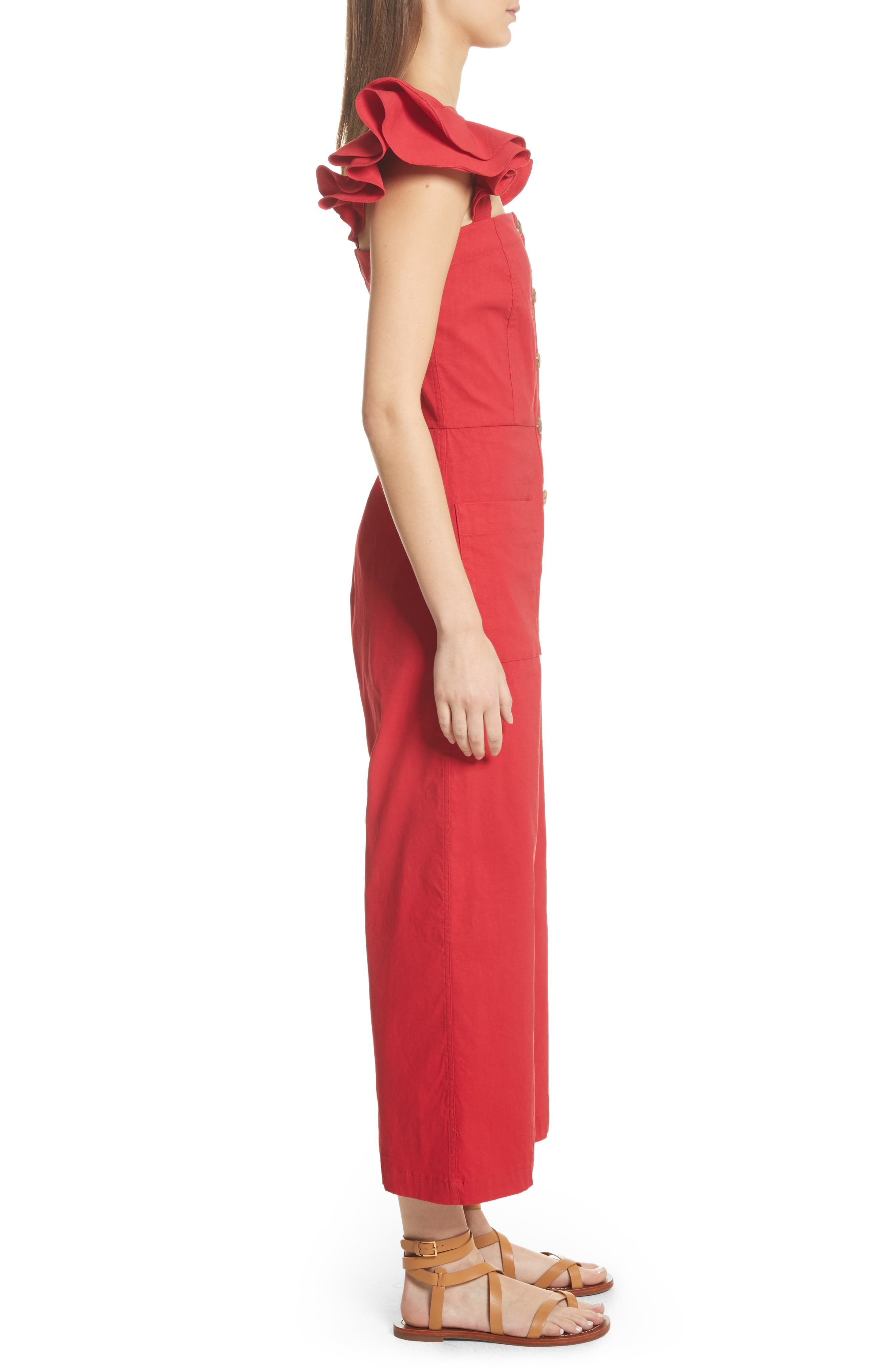 Callie Ruffle Strap Jumpsuit,                             Alternate thumbnail 3, color,                             Red
