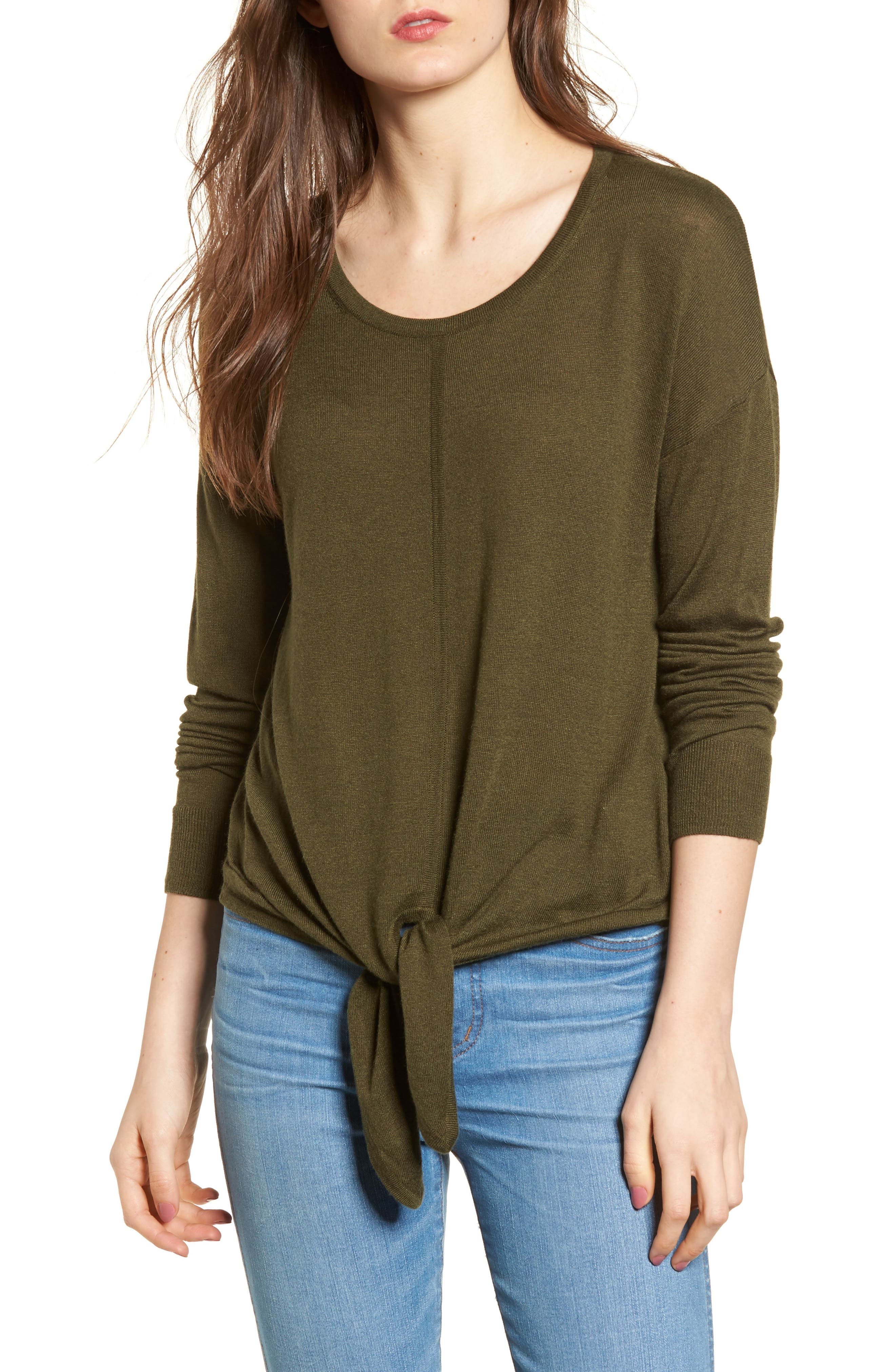 Modern Tie Front Sweater,                         Main,                         color, Foliage Green