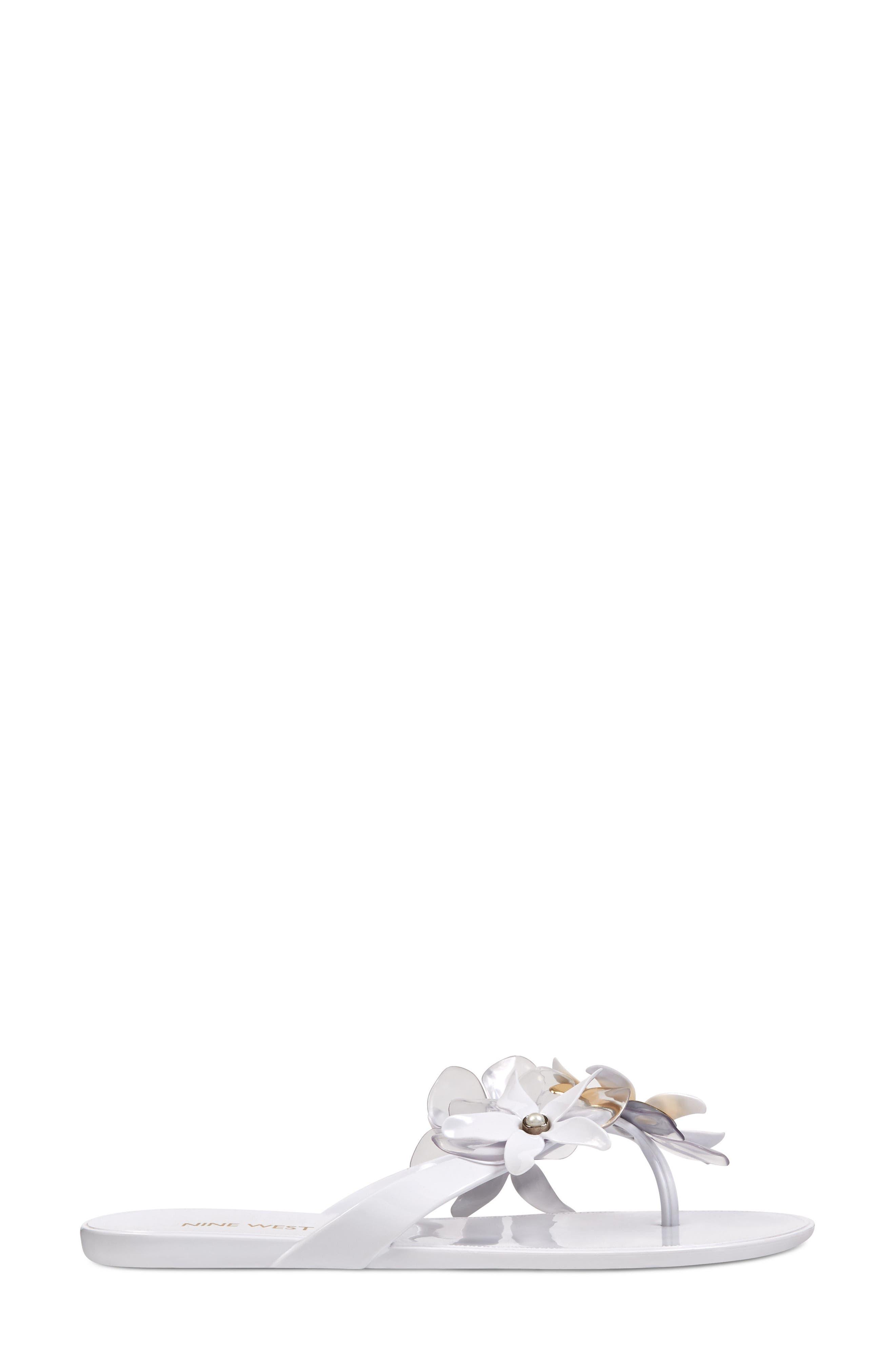 Mapilo Flower Embellished Jelly Flip Flop,                             Alternate thumbnail 3, color,                             White Multi