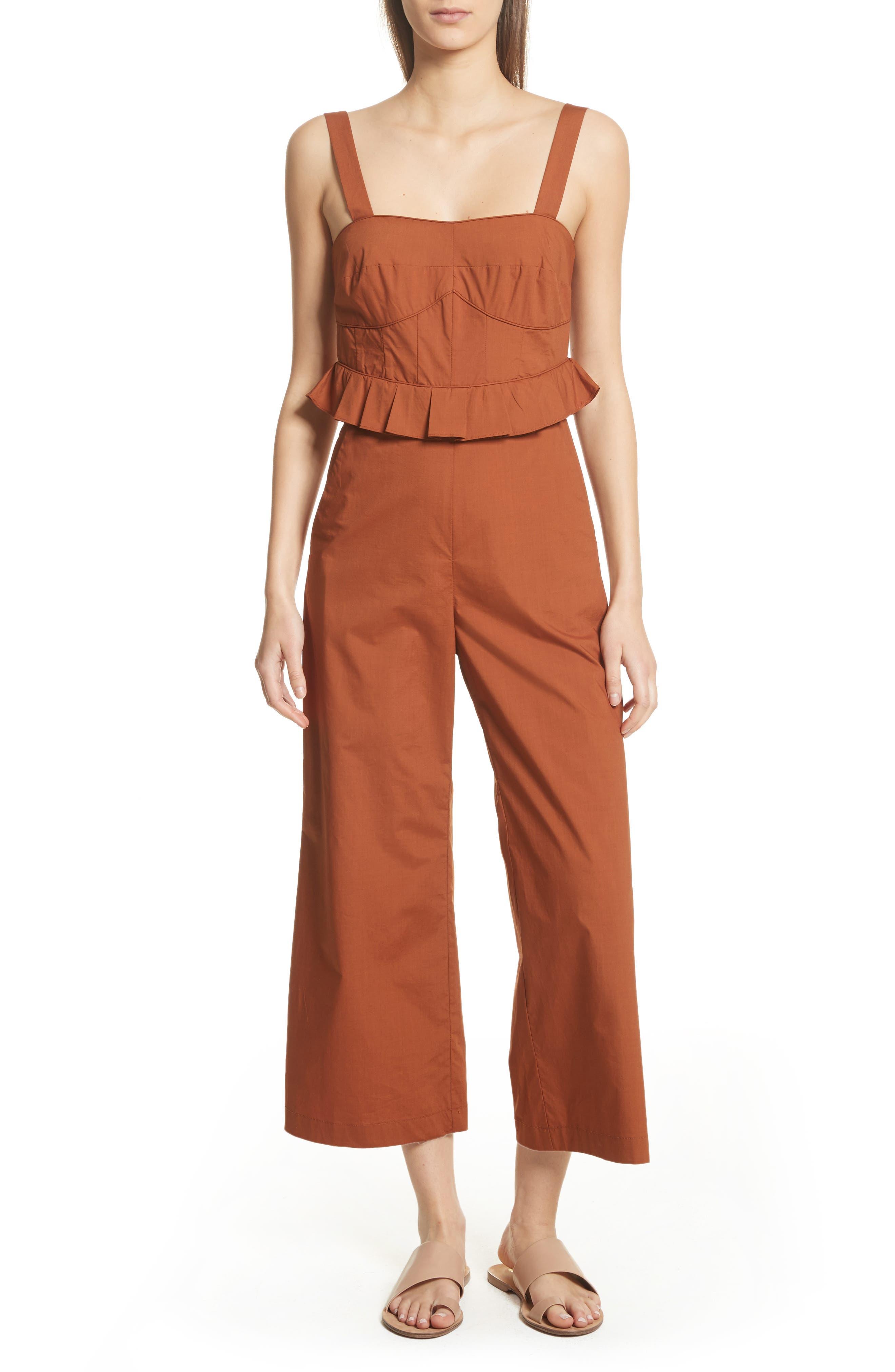 Leia Ruffle Waist Jumpsuit,                         Main,                         color, Walnut