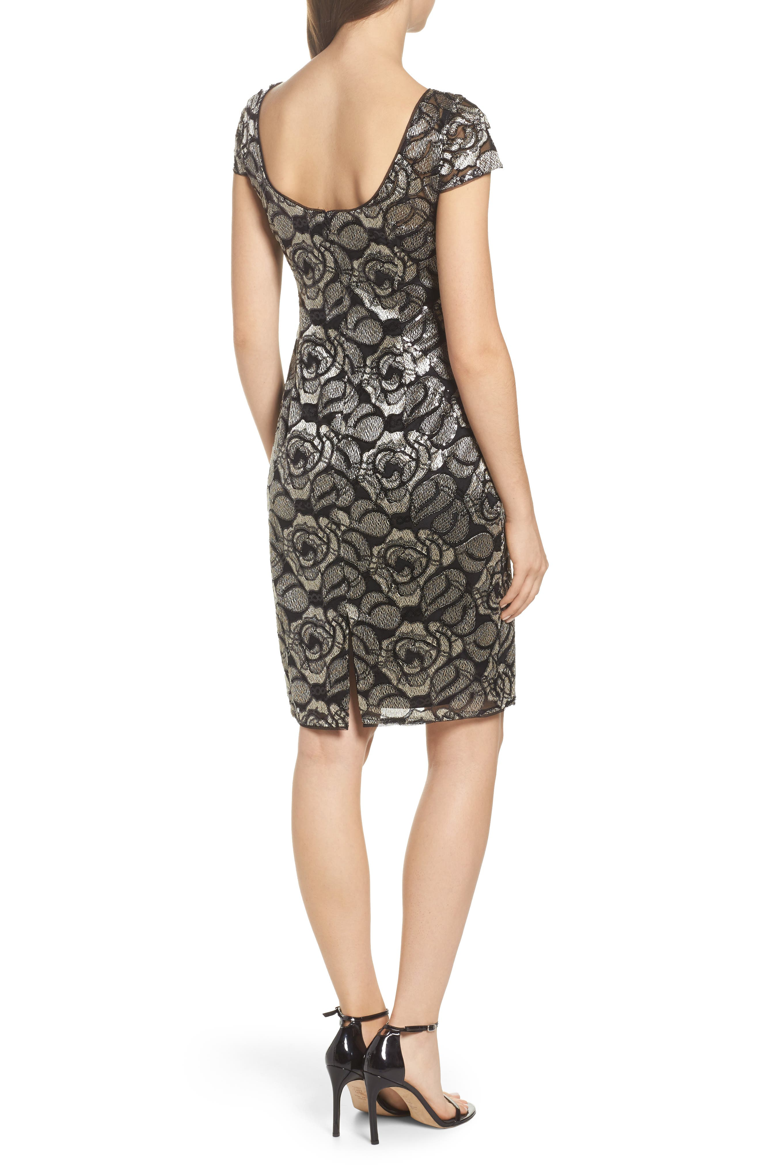 Sequin Embroidered Rose Cocktail Dress,                             Alternate thumbnail 2, color,                             Black/Gold